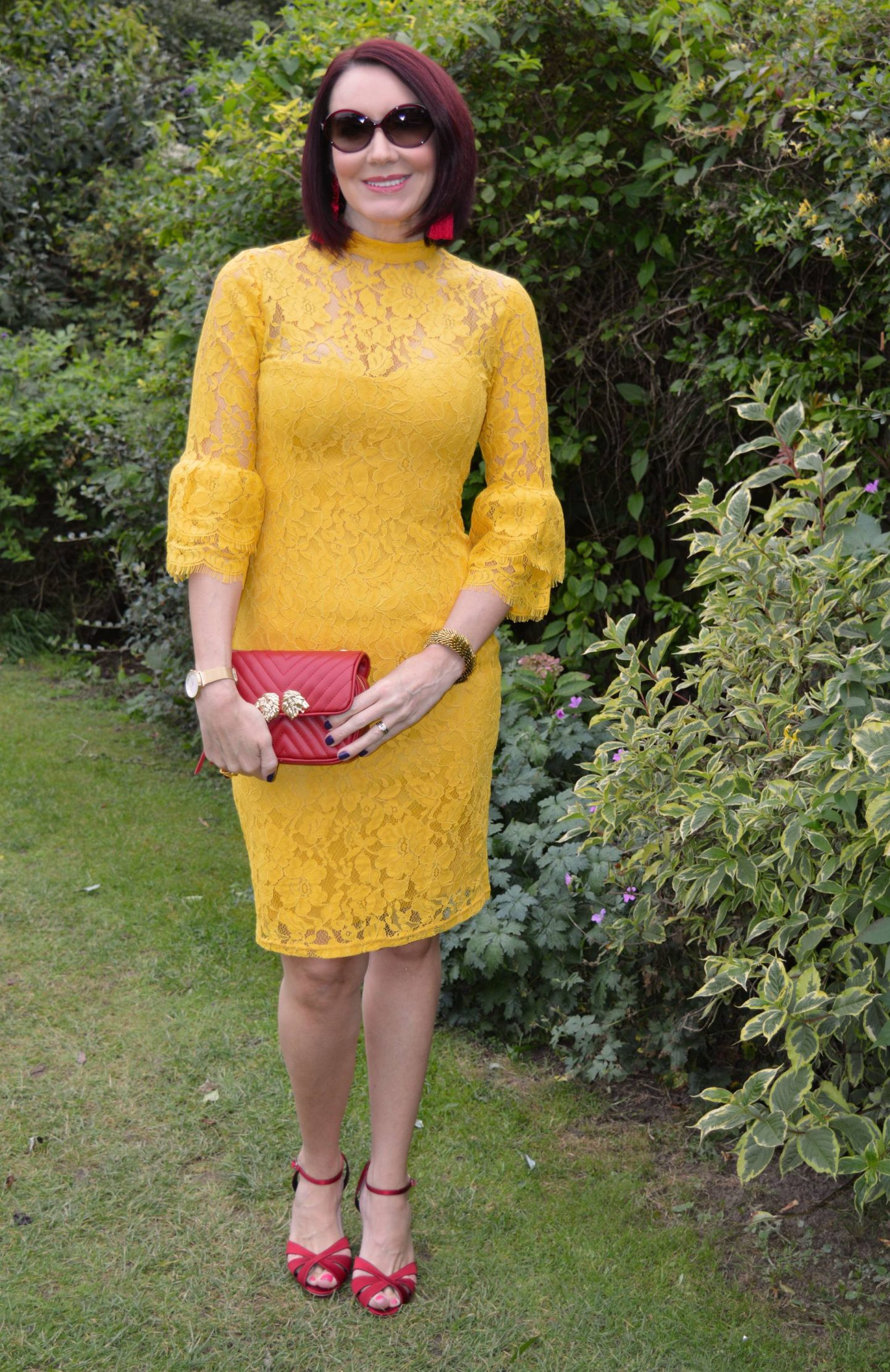 All Dressed Up With Nowhere To Go, yellow lace paper Dolls dress, red Hobbs sandals