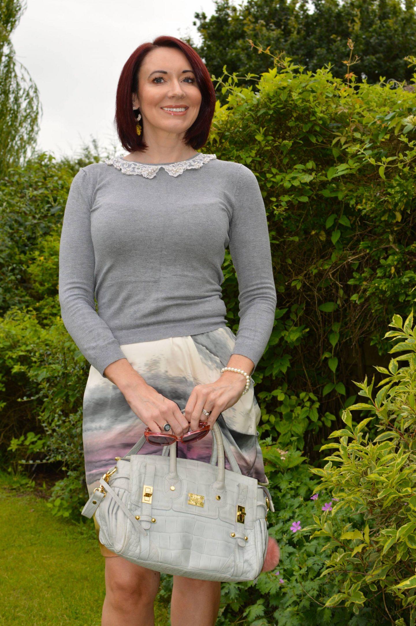 Fallin' For Tie Dye - Stylish Monday Link Up, Snob London tie dye skirt, Modalu grey satchel