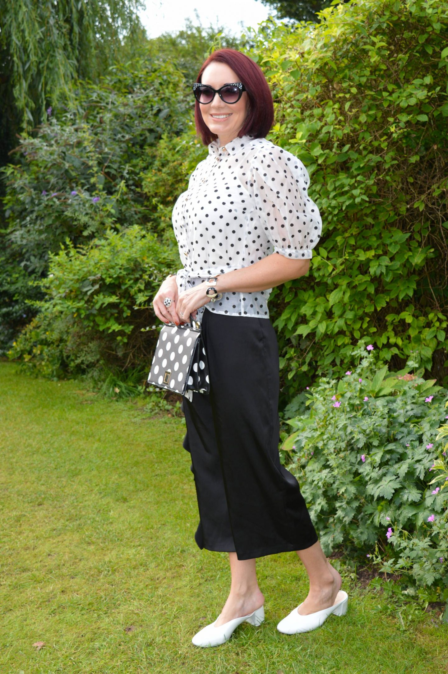Kickin' Off the Thrifty Six in Preloved Shoes, Coast organza polka dot blouse, Asos frill culottes, Mango polka dot bag
