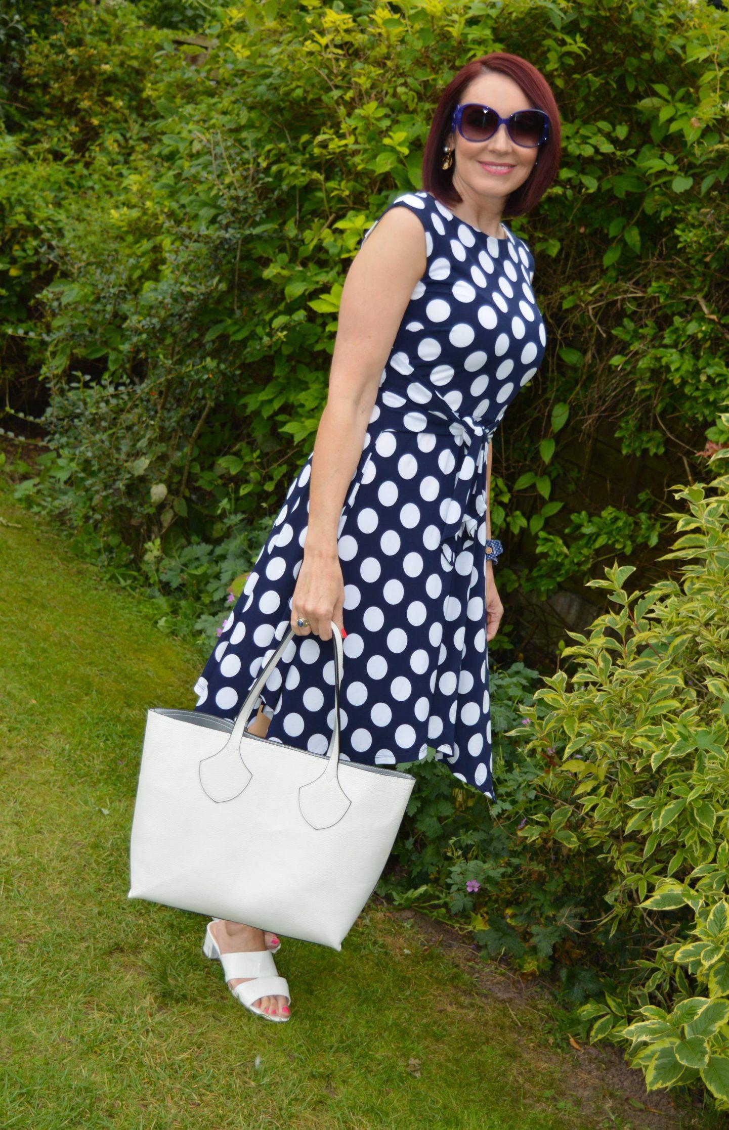 Roman Originals Navy and White Polka Dot Dress, Marks & Spencer white reversible bag