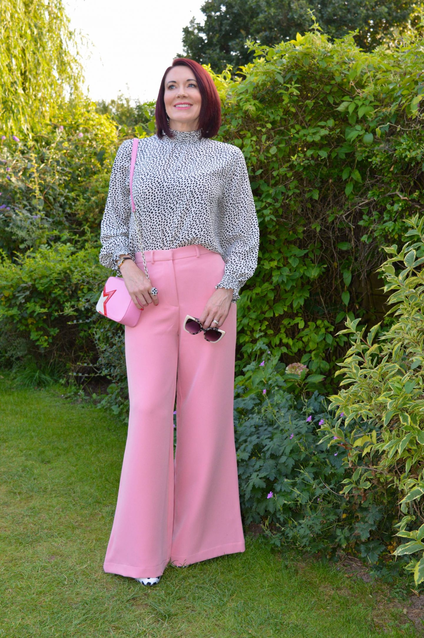Pink Wide Leg Trousers and Polka Dot Top, Coast shirred neck smock top