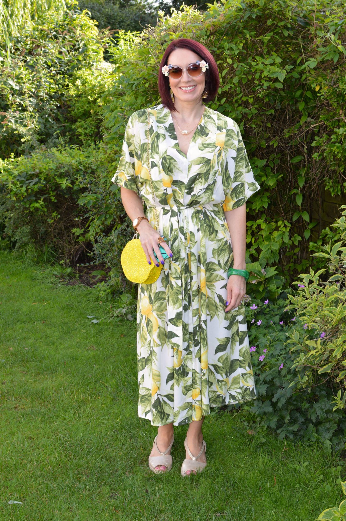 H&M Lemon Print Midi Dress, Skinny Dip lemon bag, Jeeper Peepers flower sunglasses