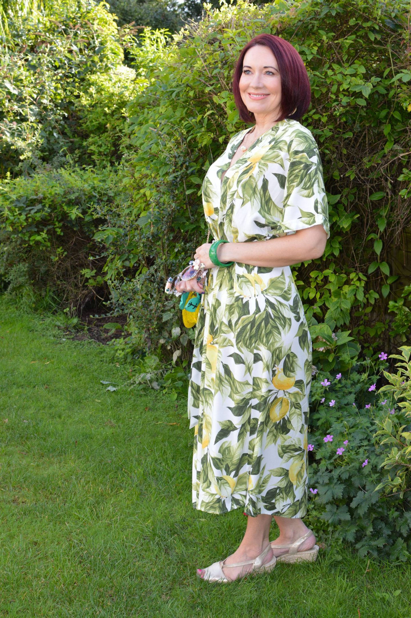 H&M Lemon Print Midi Dress, Skinny Dip lemon bag,