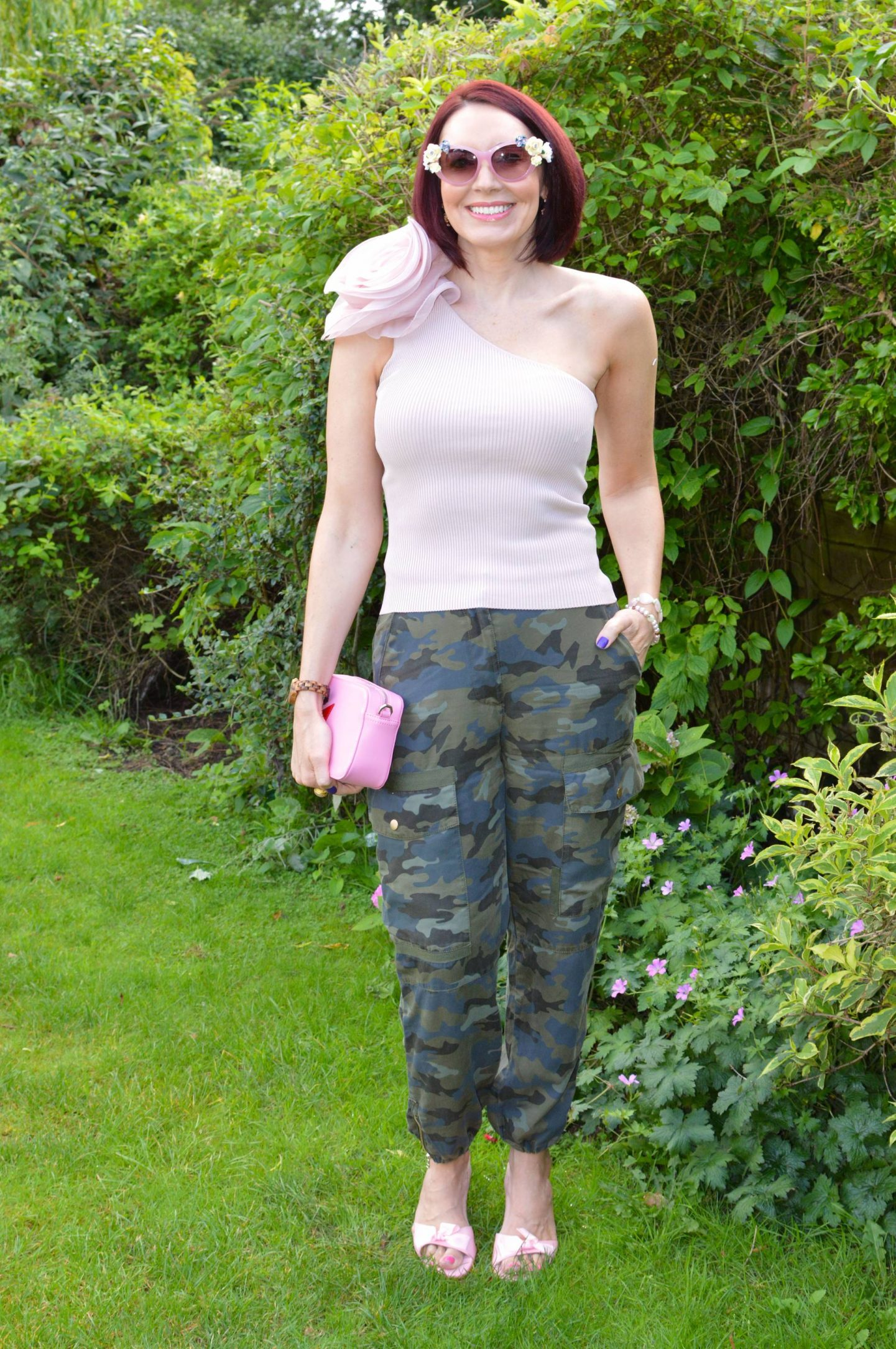 Zara Pink One Shoulder Corsage Top and Camo Print Trousers