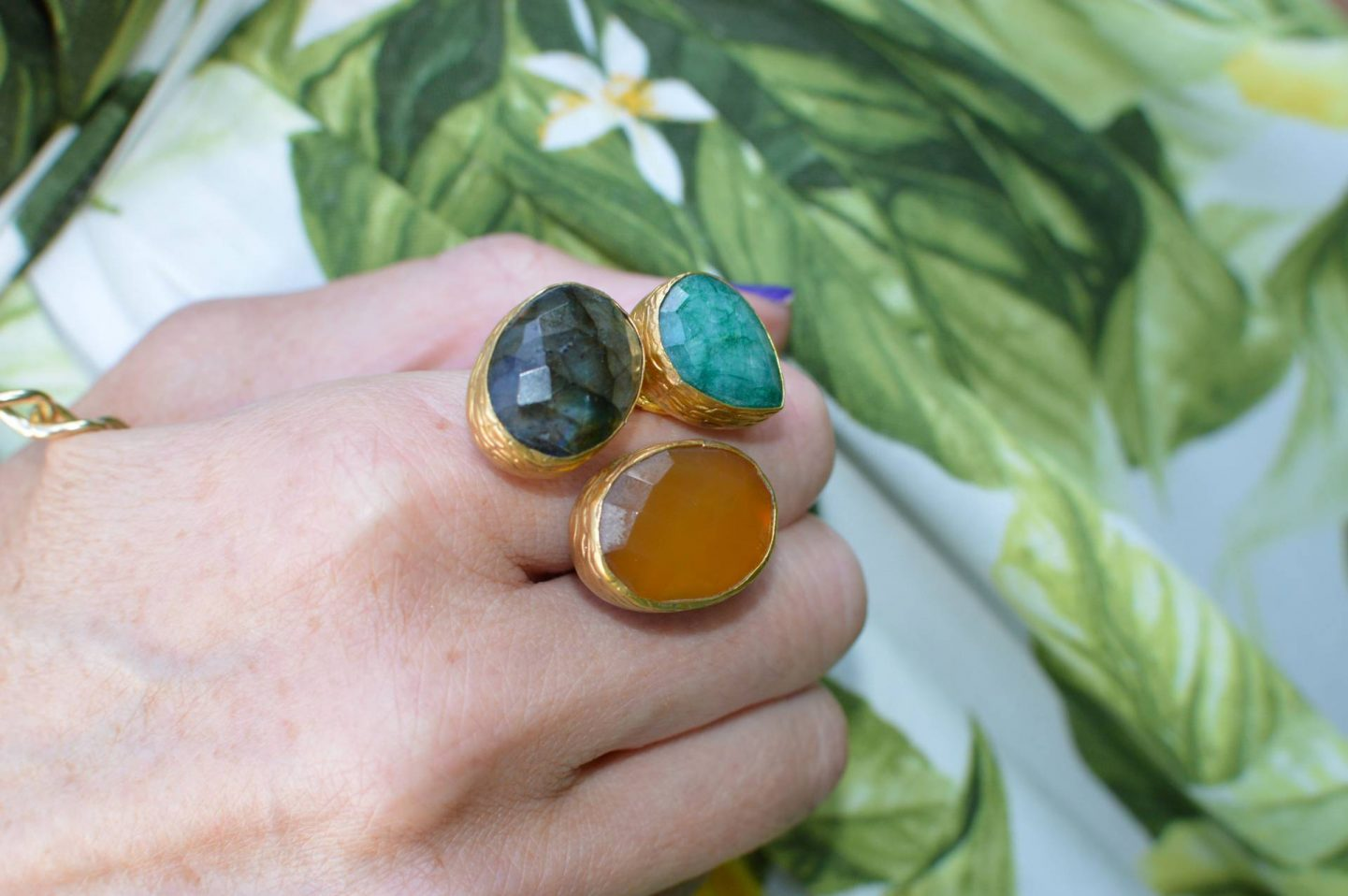 Ottoman Hands triple stone ring