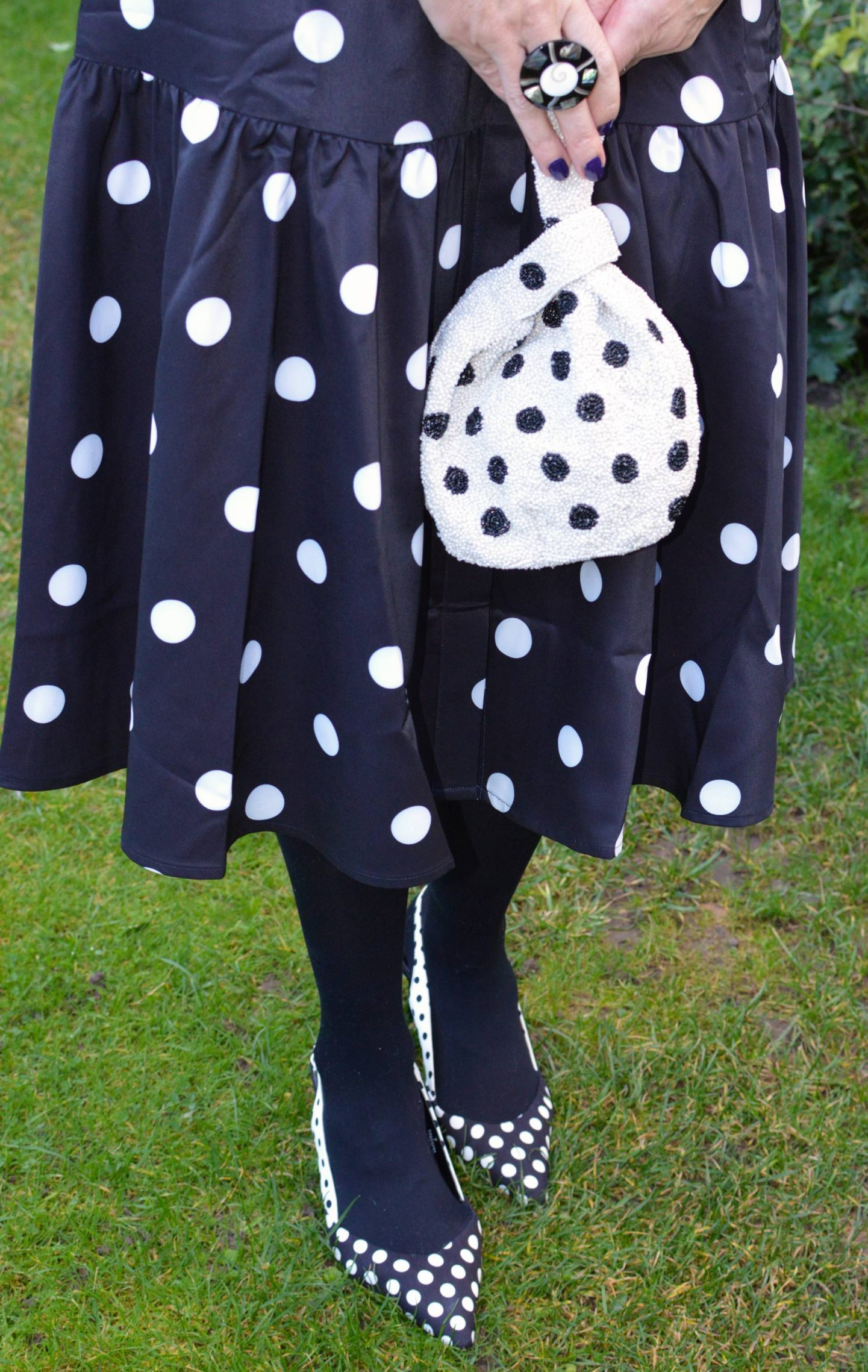 Accessorize beaded polka dot bag, Marks & Spencer polka dot slingback shoes