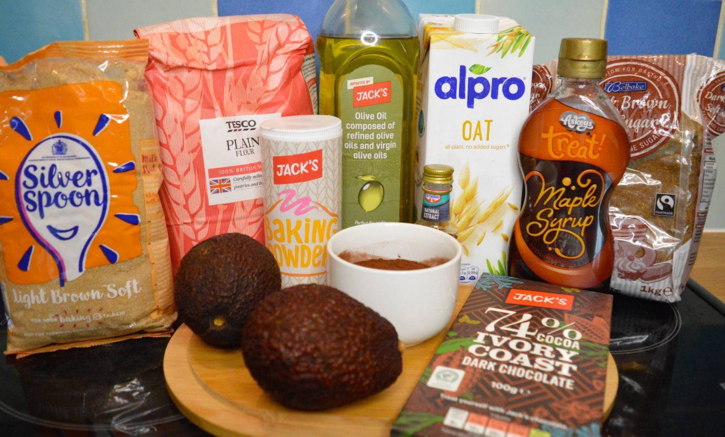 Hearty Vegan Comfort Food For Autumn, ingredients for vegan avocado brownies from Jack's supermarket