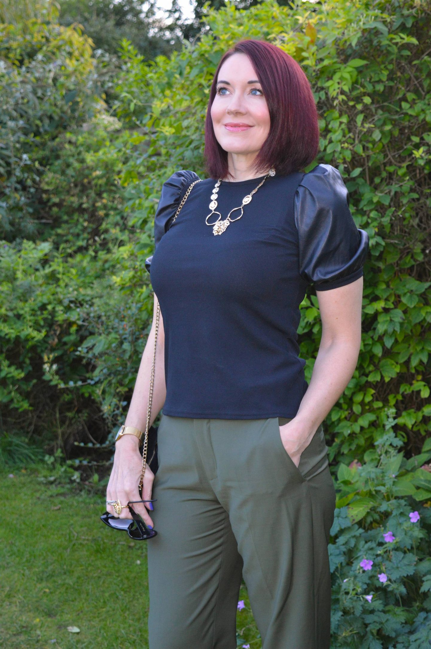 Faux Leather sleeve top, Oliver Bonas gold lion necklace