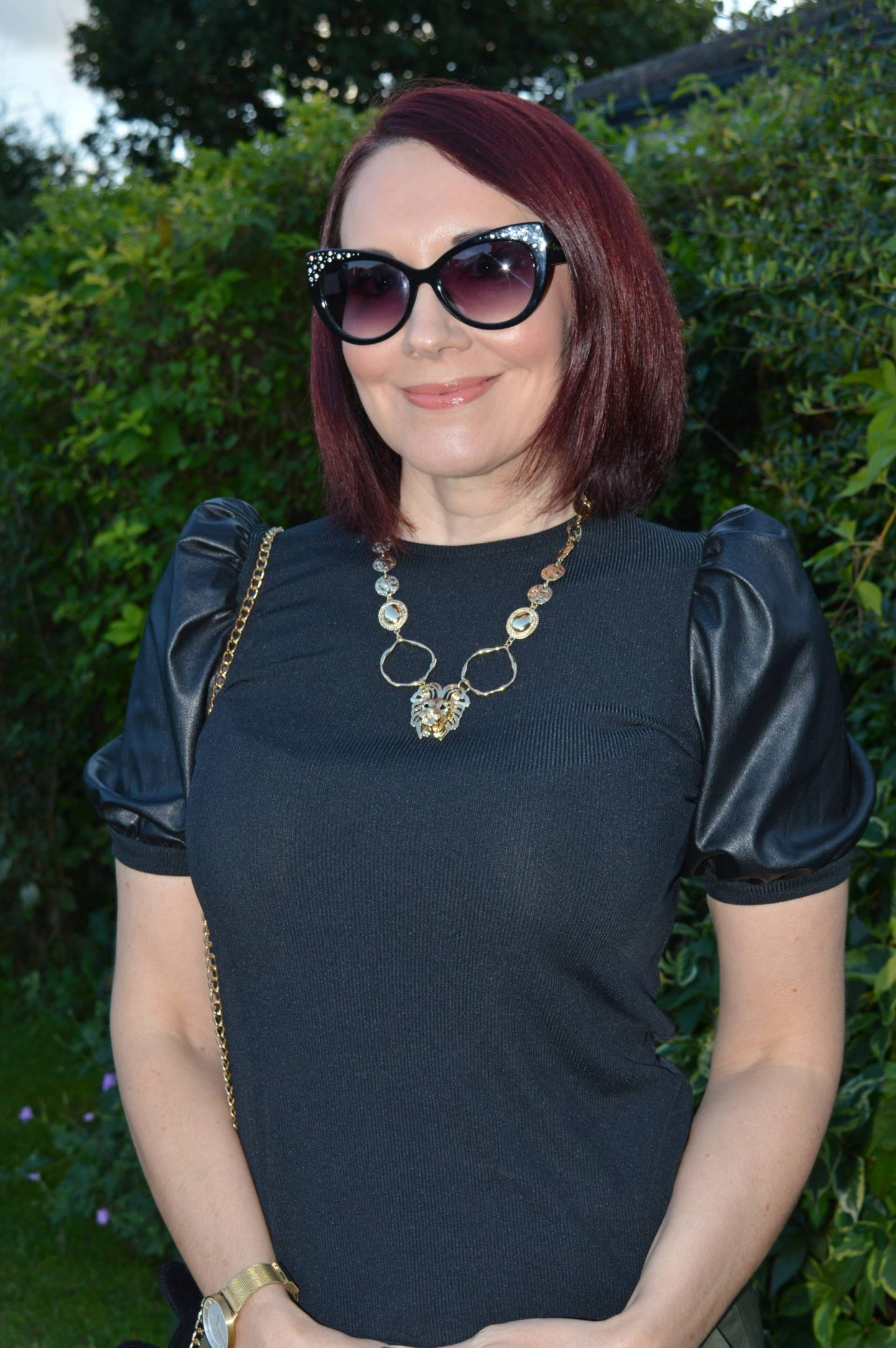 New Look Black Faux Leather Puff Sleeve top, Oliver Bonas gold lion necklace