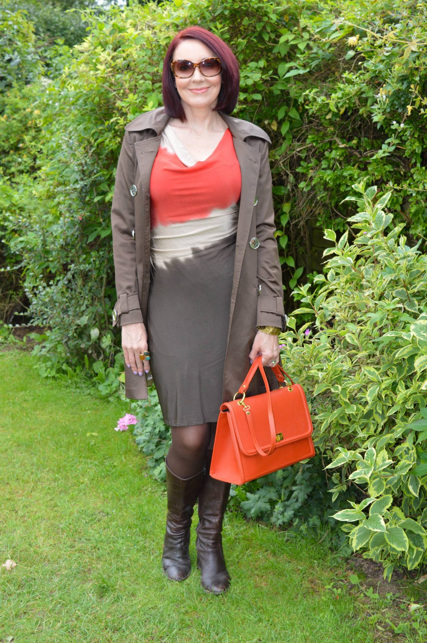Tie Dye Autumnal Shades + Style With a Smile Link Up, Kenneth Cole tie dye dress, brown Philosophy trench coat