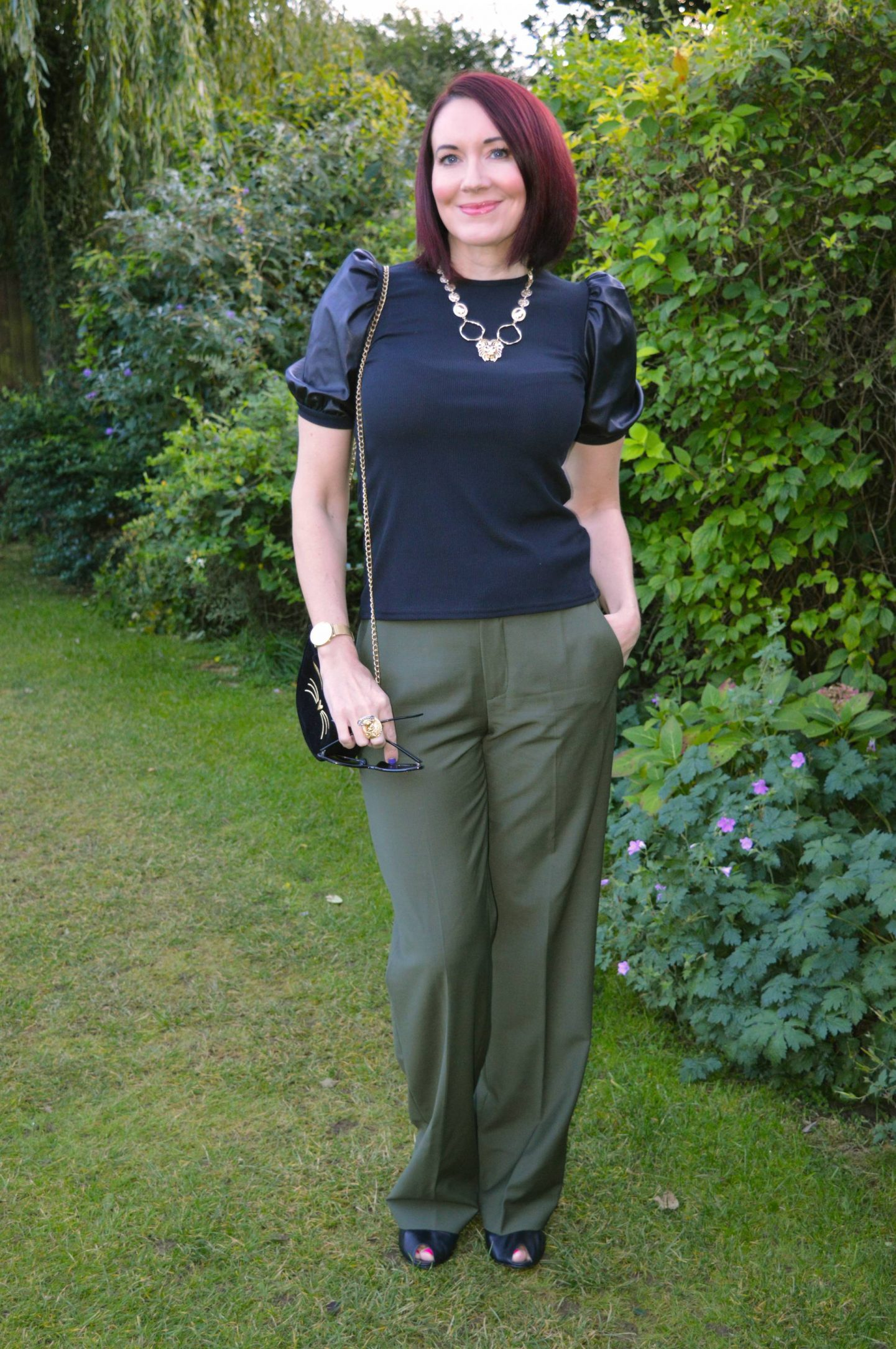 New Look Black Faux Leather Puff Sleeves top and Zara Khaki Trousers