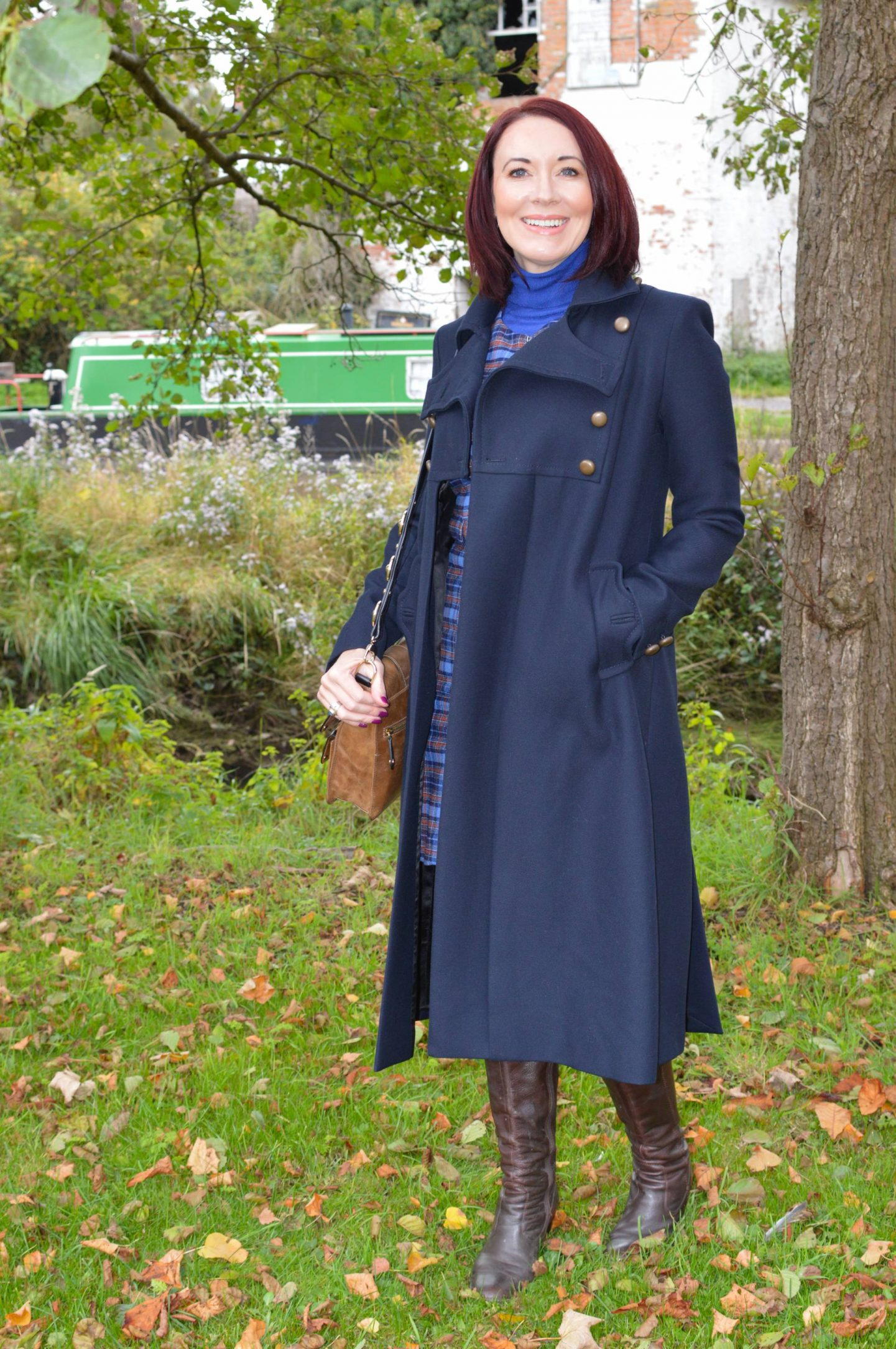 Check Out Preloved Fashion - The Thrifty Six October Challenge,, French Connection navy military coat