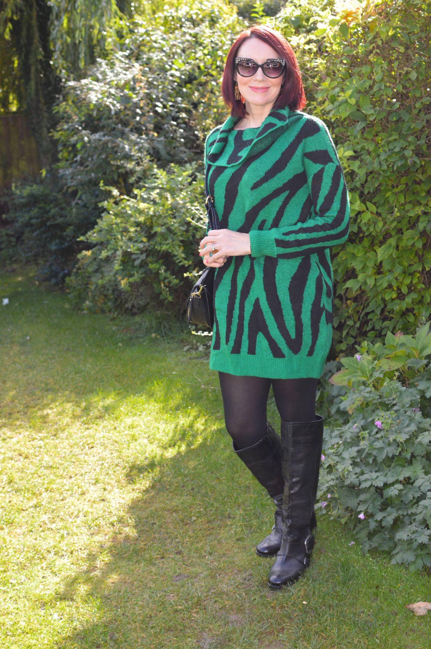 The Stylish Monday Sweater Edit, Bonmarche green zebra print tunic sweater
