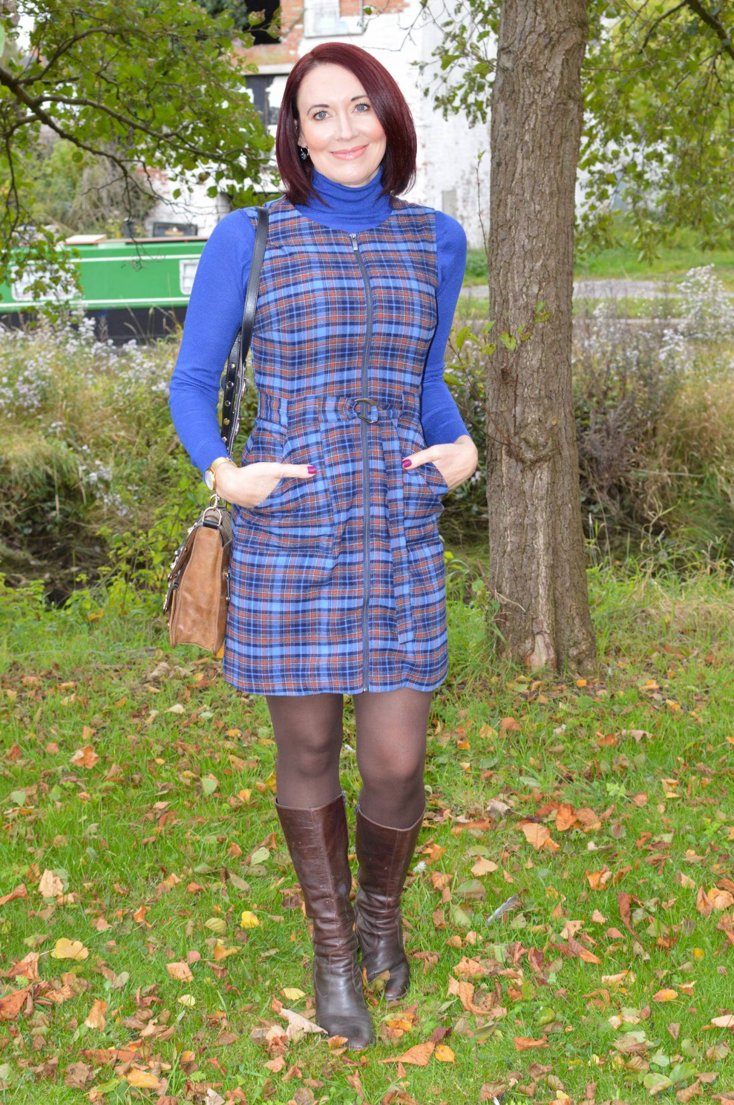 Check Out Preloved Fashion - The Thrifty Six October Challenge, Oasis blue and brown check dress