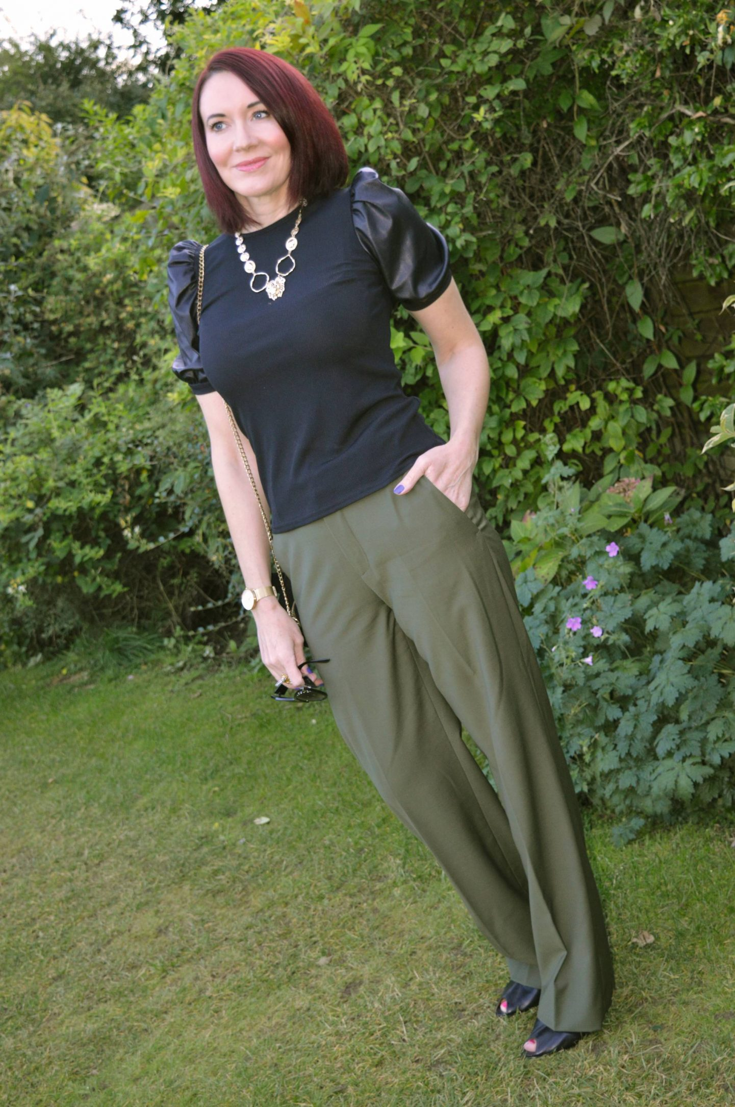 New Look Black Faux Leather Puff Sleeve and Zara Khaki Trousers