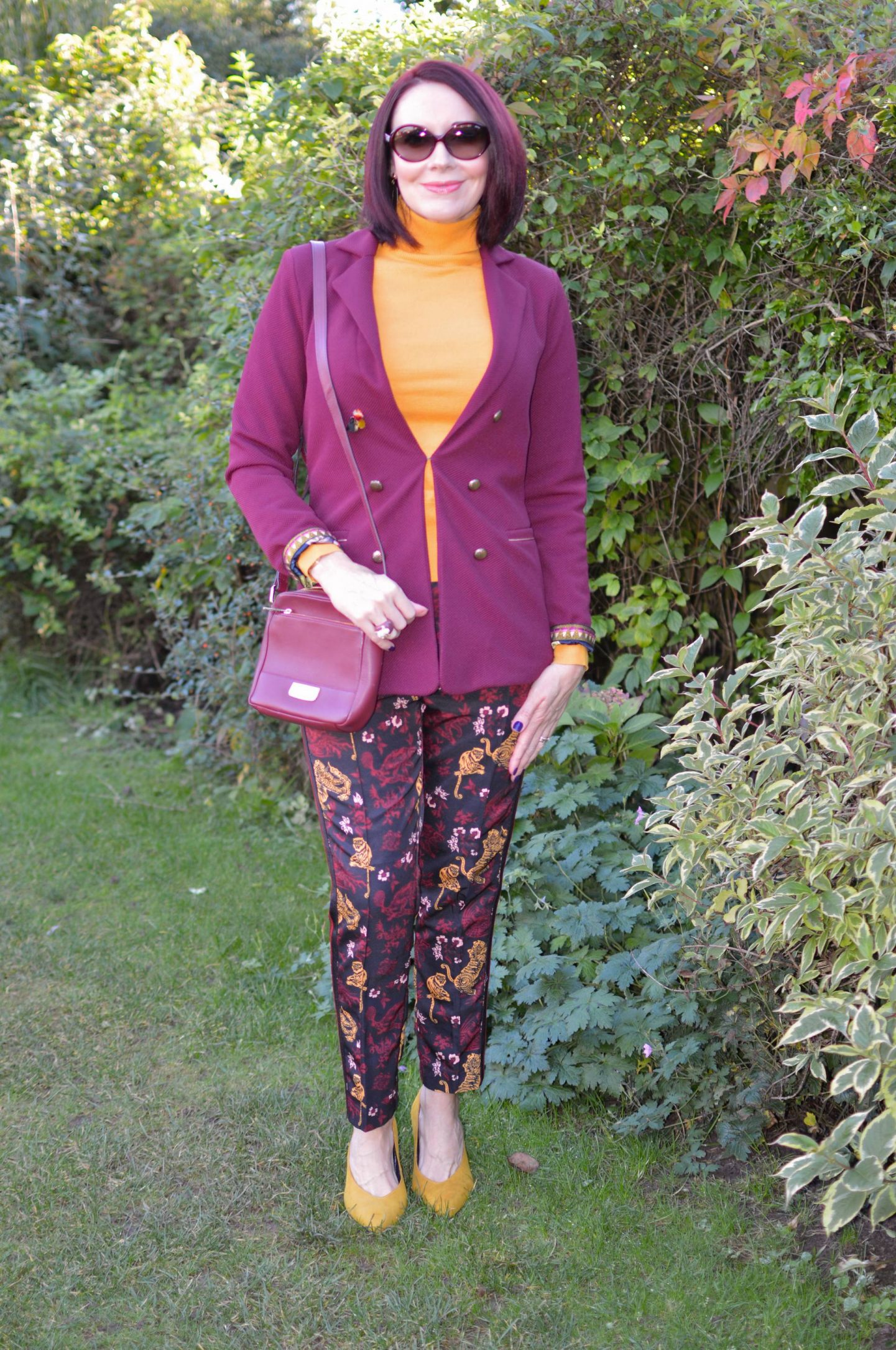 Splitting Up a Co-ord For Maximum Wear, Pom Amsterdam Bordeaux jacket, Scotch & Soda tapered leg pants with contrast side panels, Betty Barclay mustard rollneck sweater, Paul Costelloe burgundy crossbody bag