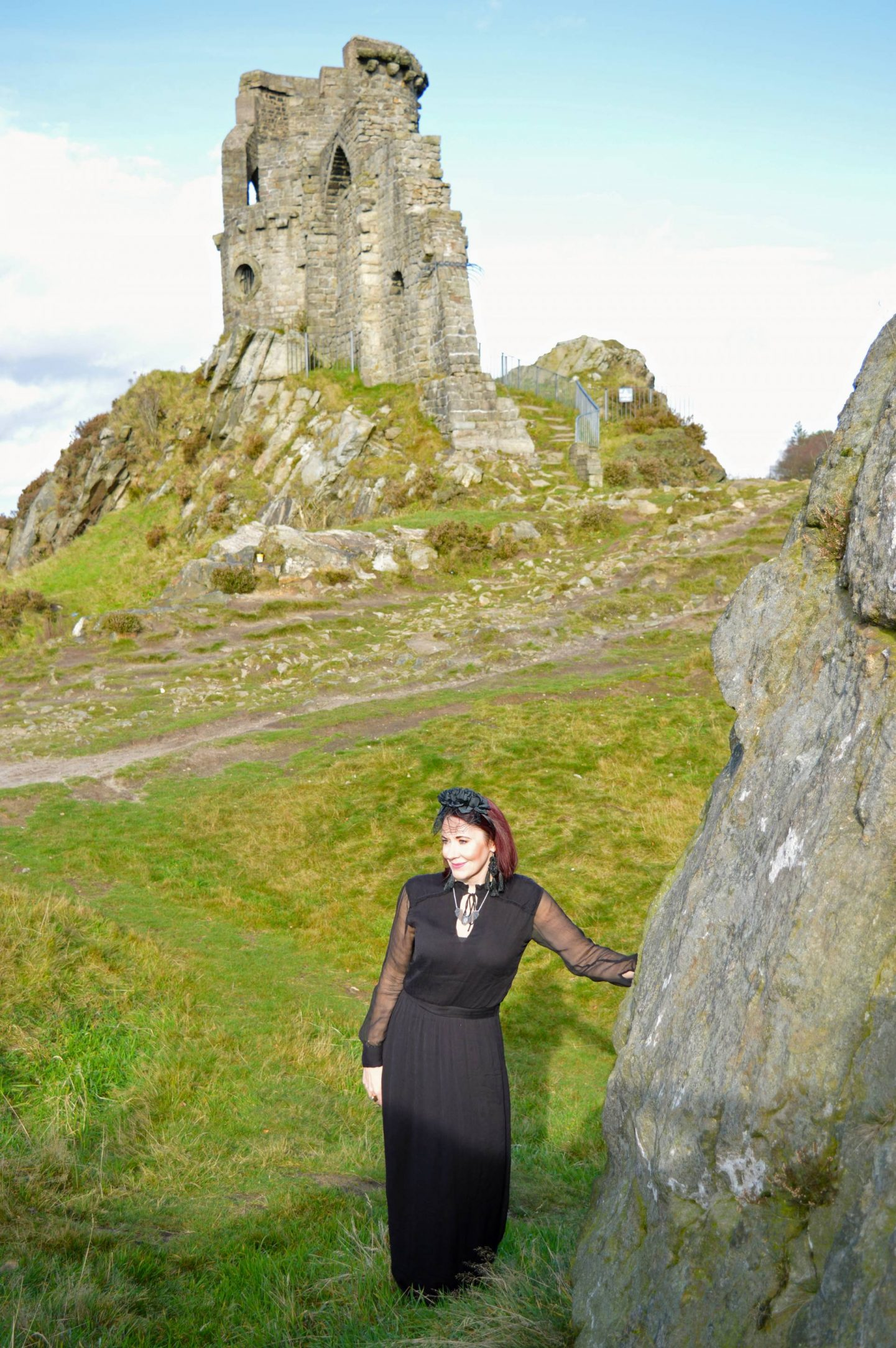 Gothic Romance Style Not Age, Second Female black maxi dress, Asos black lace headband, Mow Cop