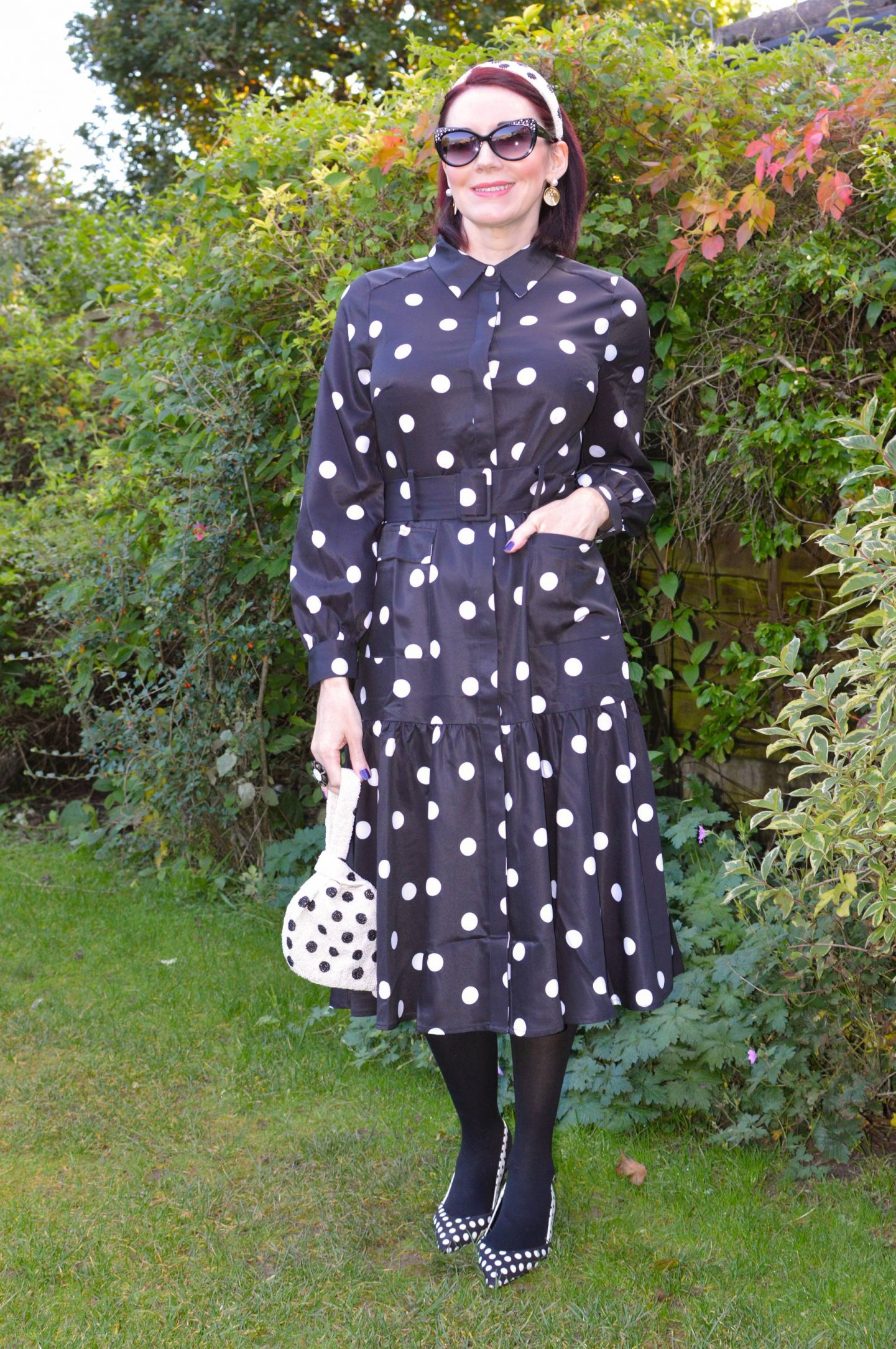 Head to Toe Polka Dots, Coast polka dot belted dress, Accessorize beaded polka dot bag, Accessorize beaded polka dot headband, Marks & Spencer polka dot slingback shoes