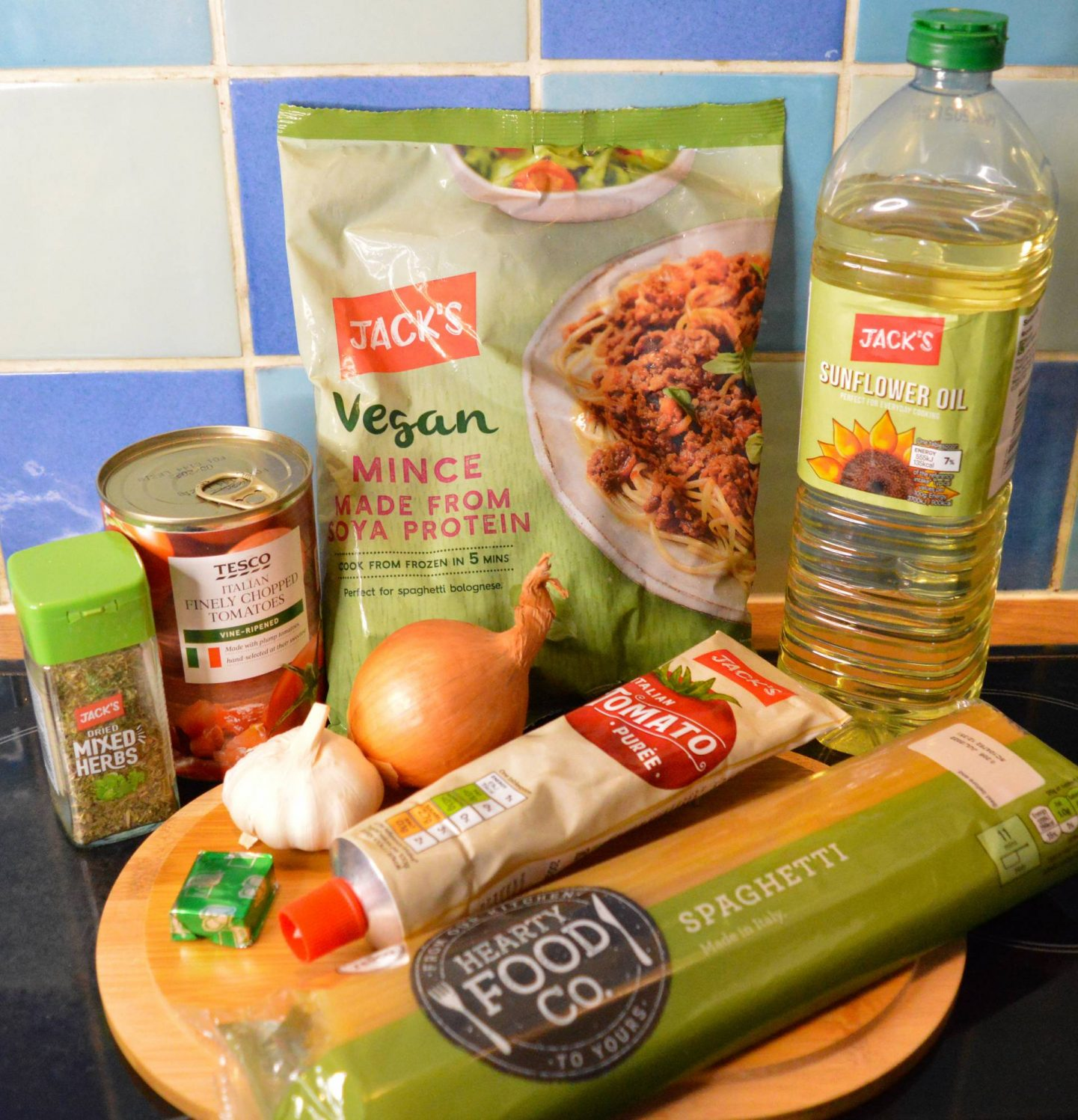 Hearty Vegan Comfort Food For Autumn, ingredients for vegan spaghetti bolognaise from Jack's supermarket
