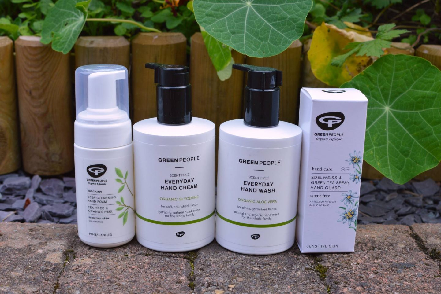 Green People Everyday Hand Cream, Everyday Hand Wash, Edelweiss & Green Tea SPF30 Hand Guard, Hand Cleansing Foam