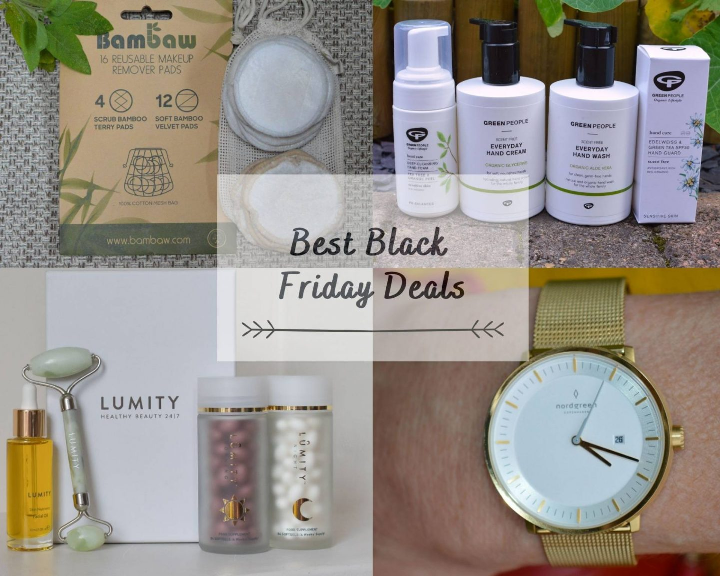 Best Black Friday Deals collage, Lumity, Freen People handcare, Bambaw makeup remover pads, Nordgreen Philosopher gold watch