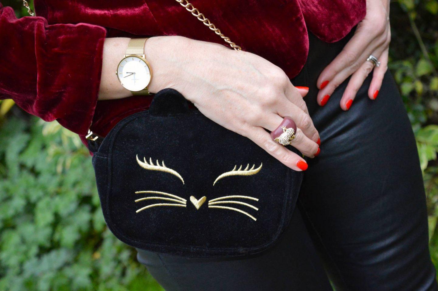 Asos velvet cat bag, Nordgreen gold Philosopher watch
