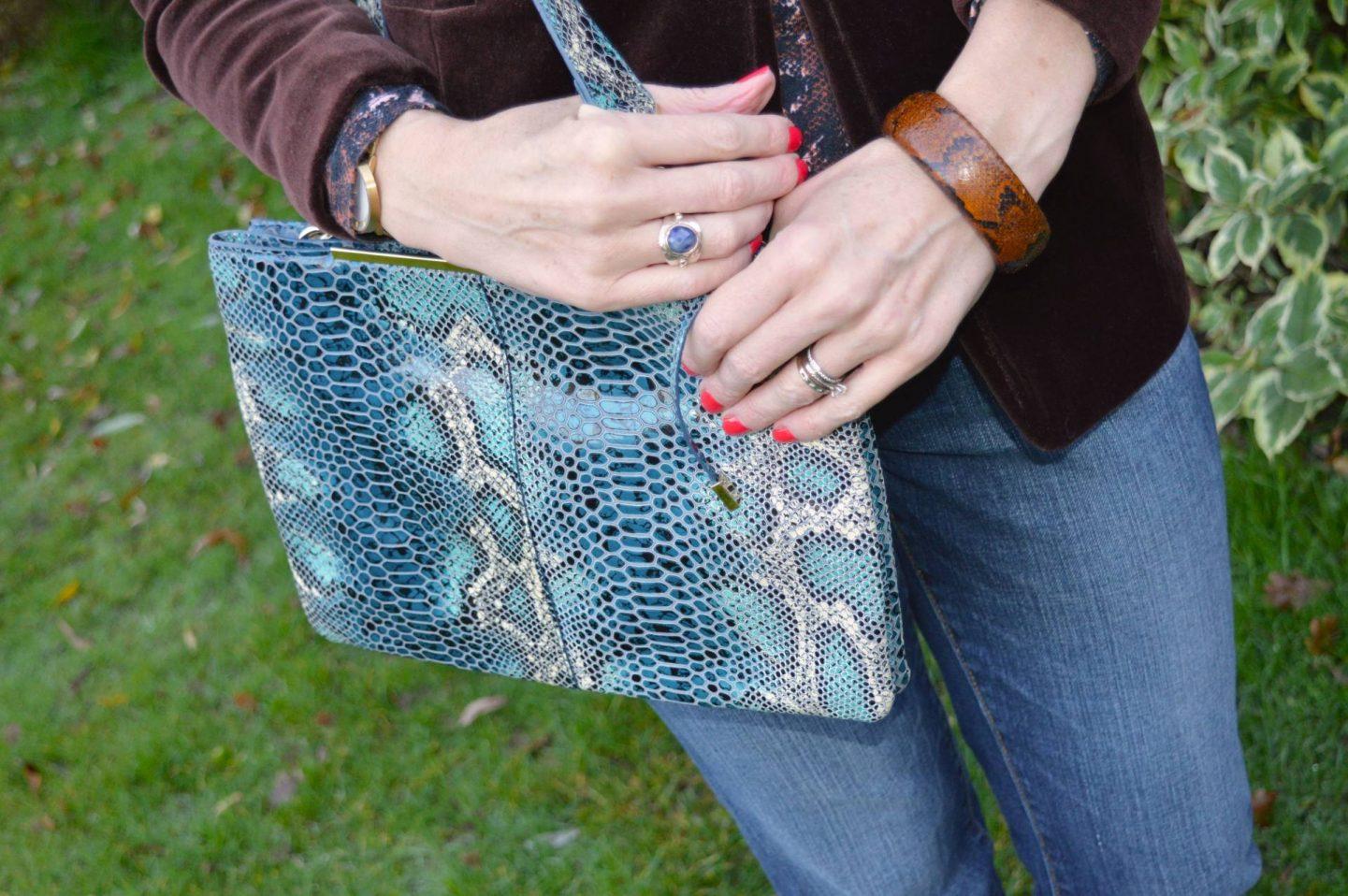 blue snake print Mary Portas bag