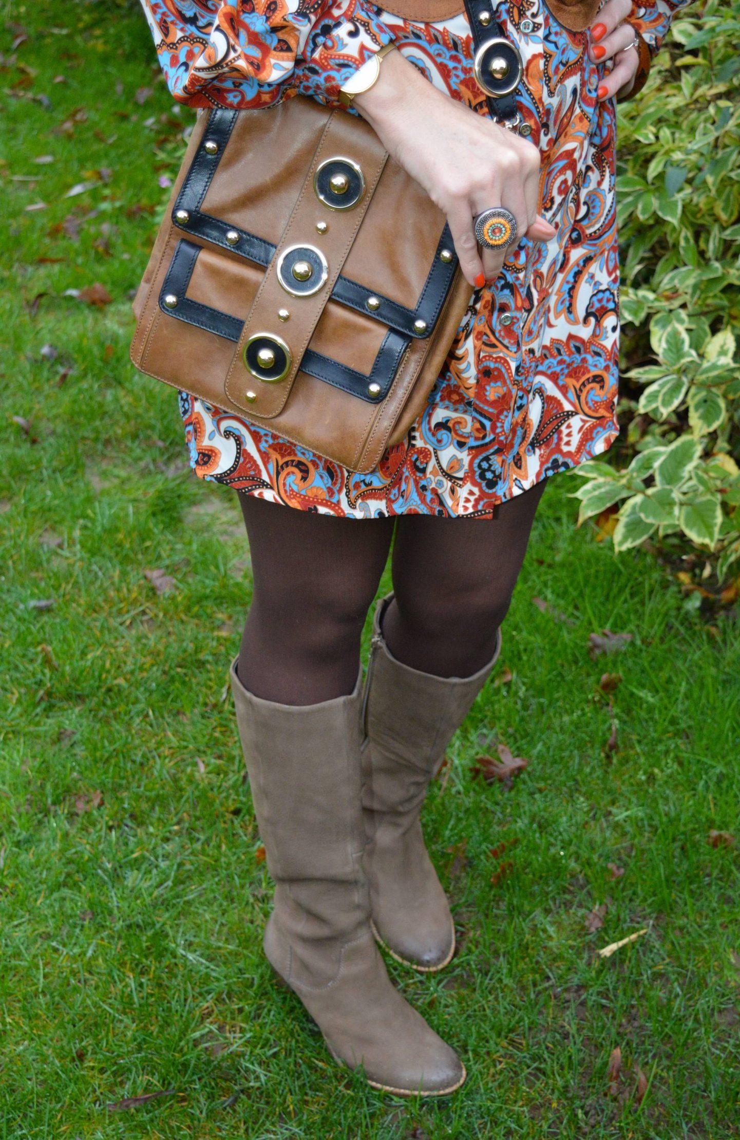Temperley London Trinity messenger bag, Cara brown knee boots