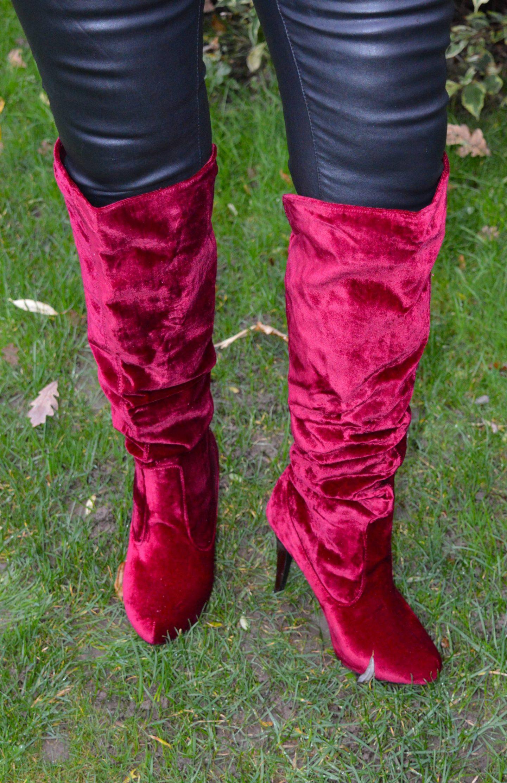 Office wine velvet knee boots