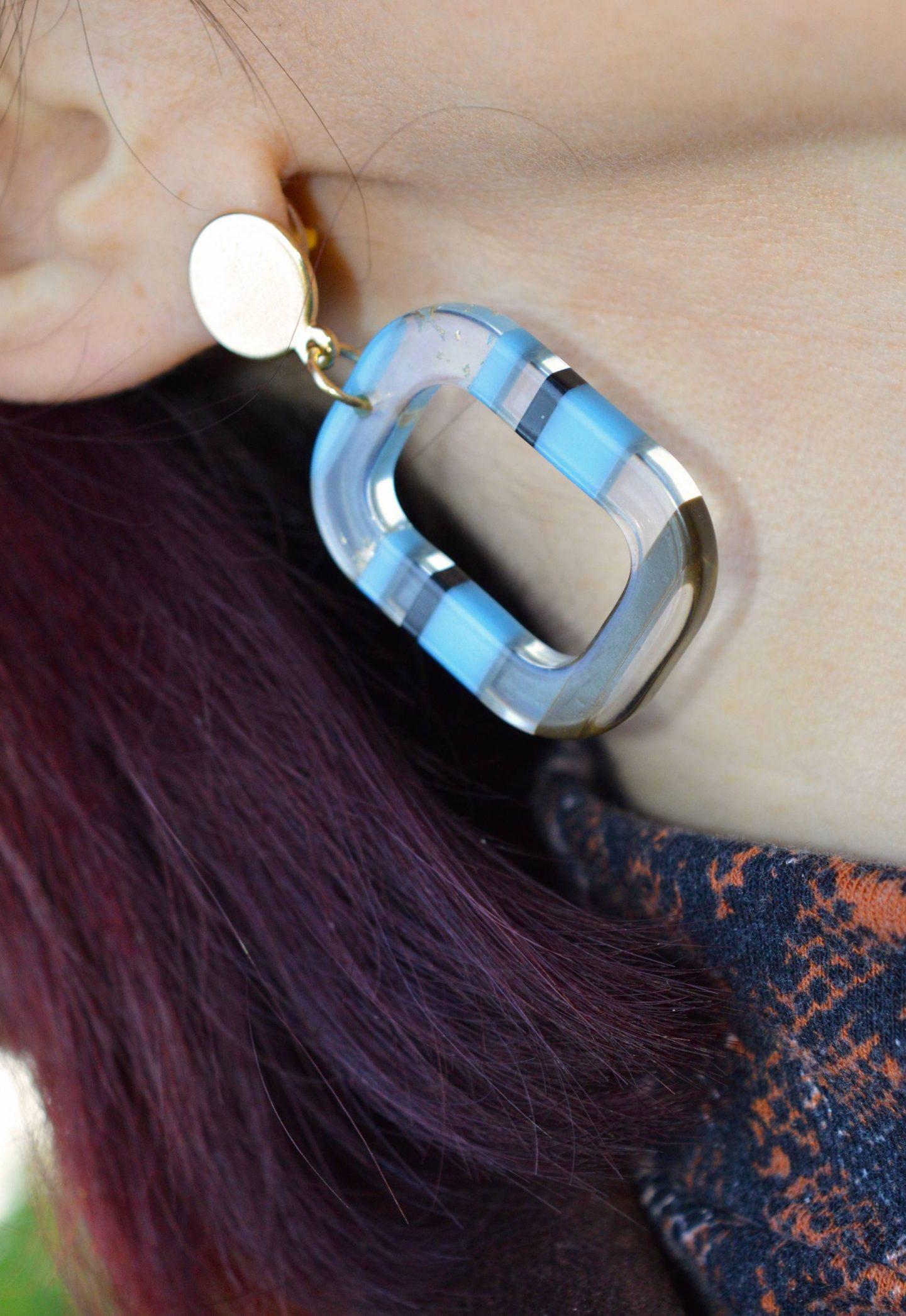 John Lewis blue striped perspex earrings