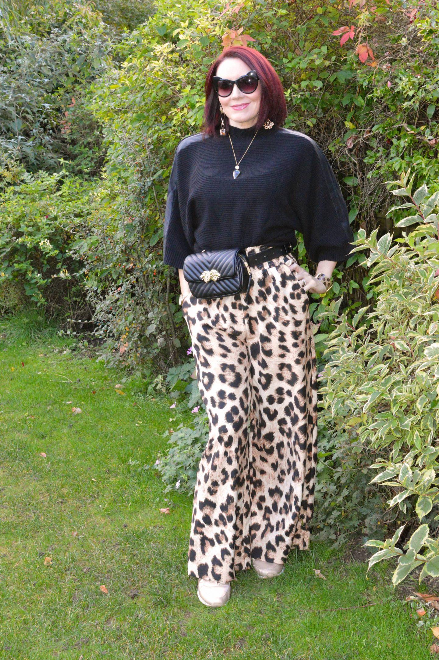 Weekend Wear - September Stylish Monday Link Up, Asos leopard print trousers, Karen Millen black batwing sweater