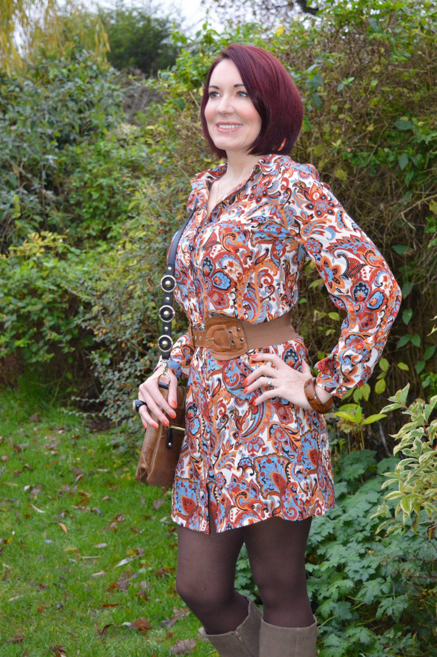 Marks & Spencer Orange Paisley Shirt Dress, Temperley London Trinity messenger bag