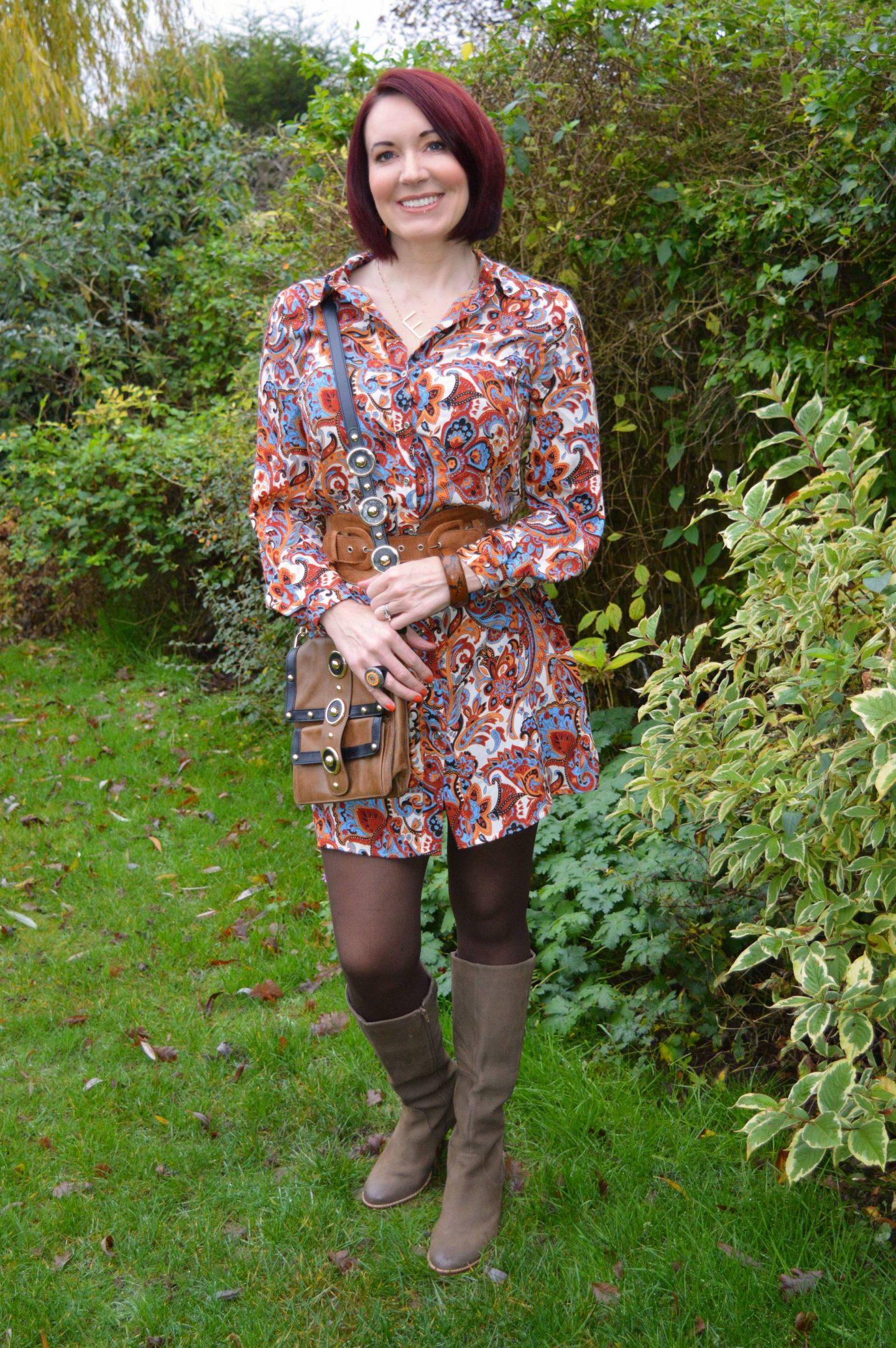 Marks & Spencer Orange Paisley Shirt Dress, Temperley London Trinity messenger bag, Cara brown knee boots