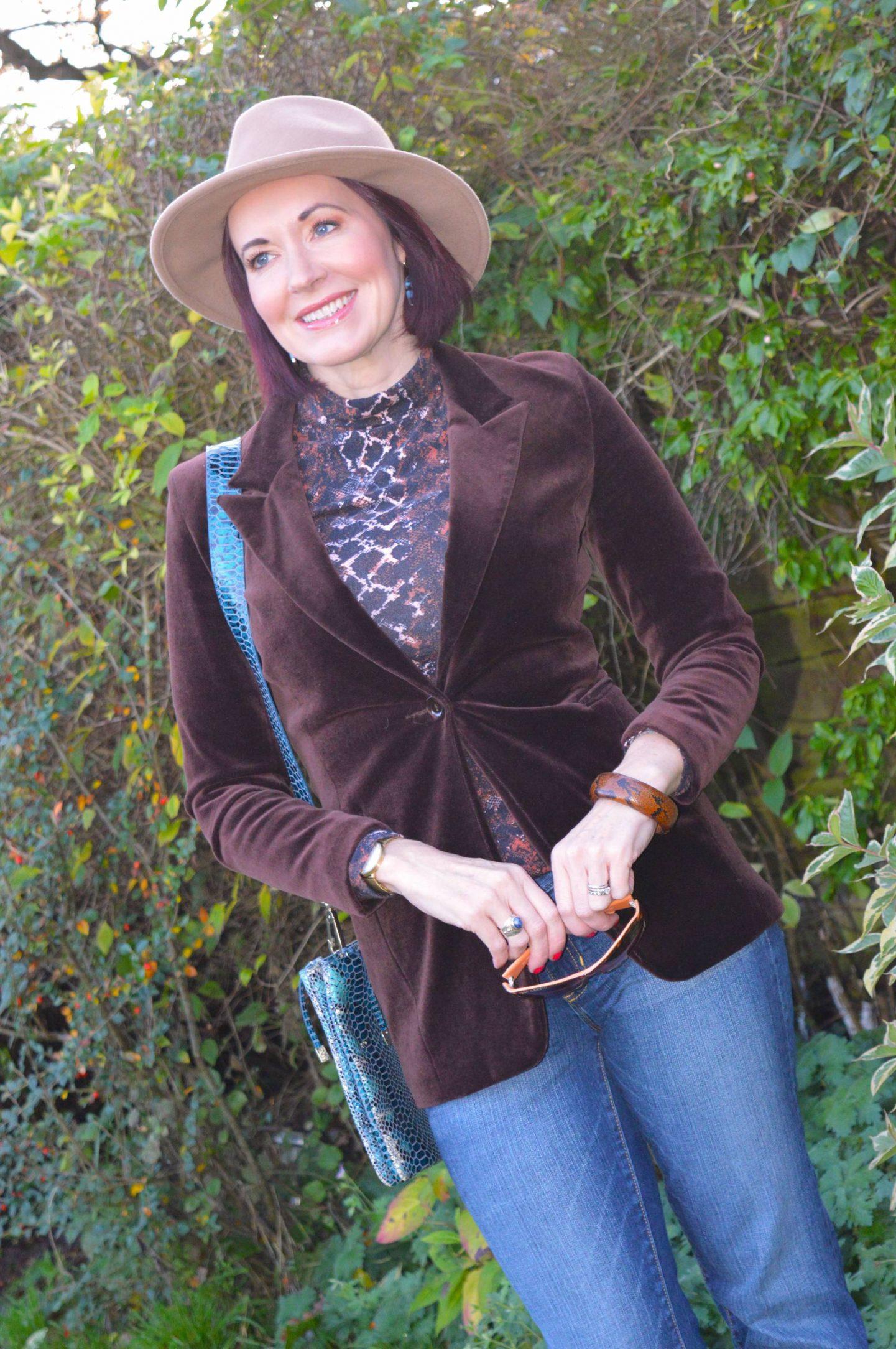 brown velvet blazer, Zara camel fedora, Gap boot flare jeans