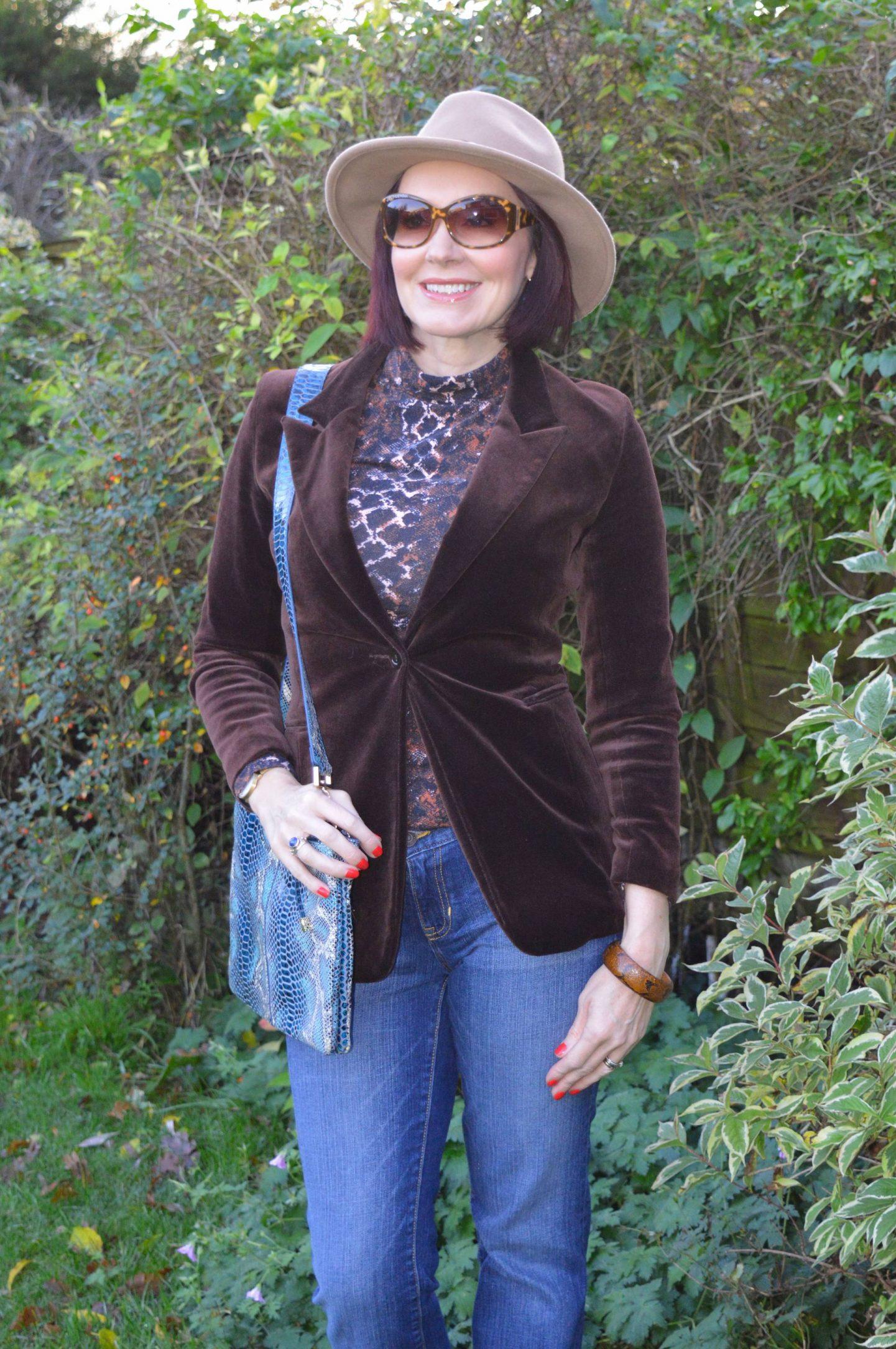 brown velvet blazer, Red Herring snake print top, Zara camel fedora, Gap boot flare jeans