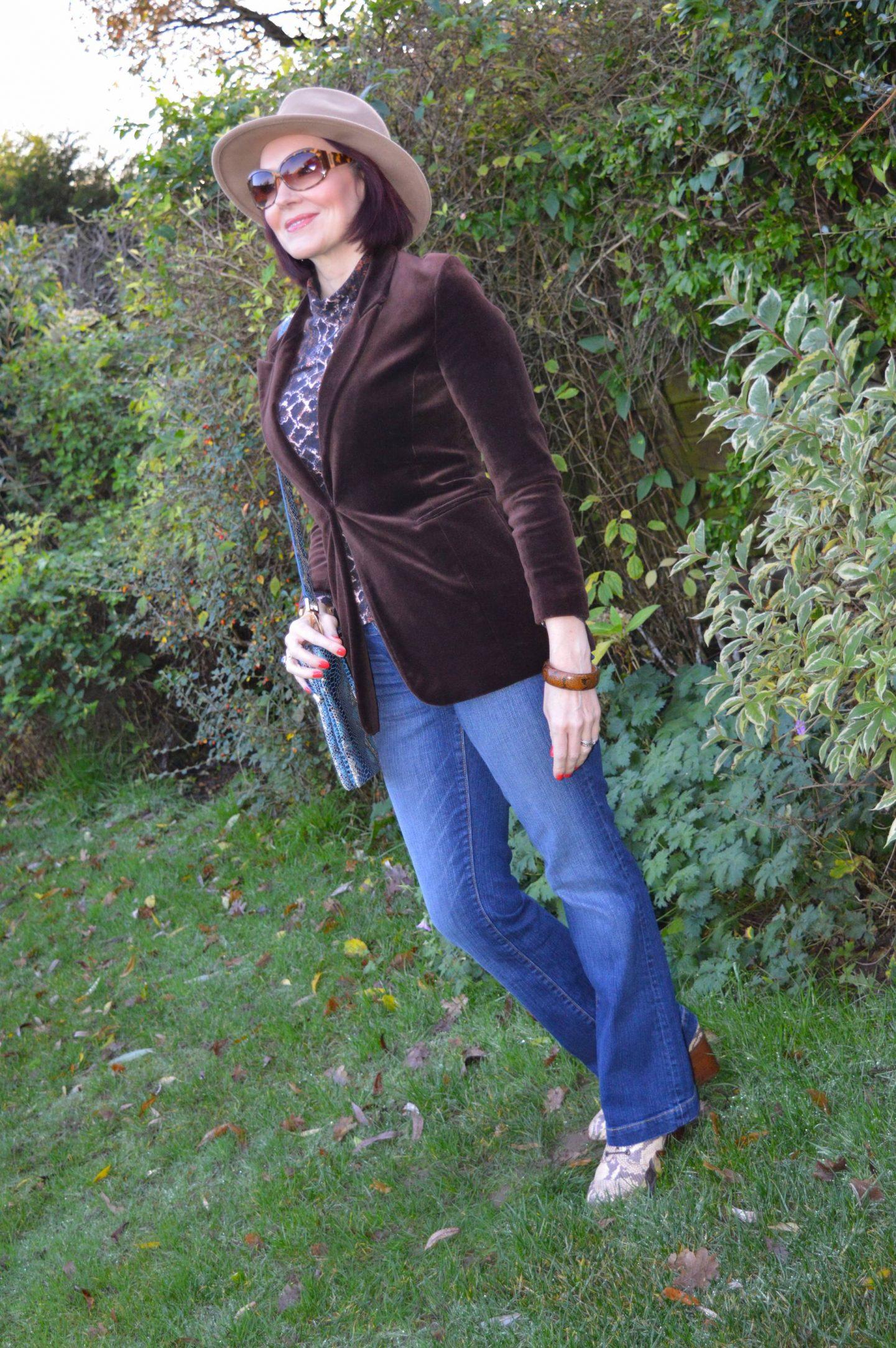 Velvet and Snake Print, brown velvet blazer, Red Herring snake print top, Zara camel fedora, Gap boot flare jeans