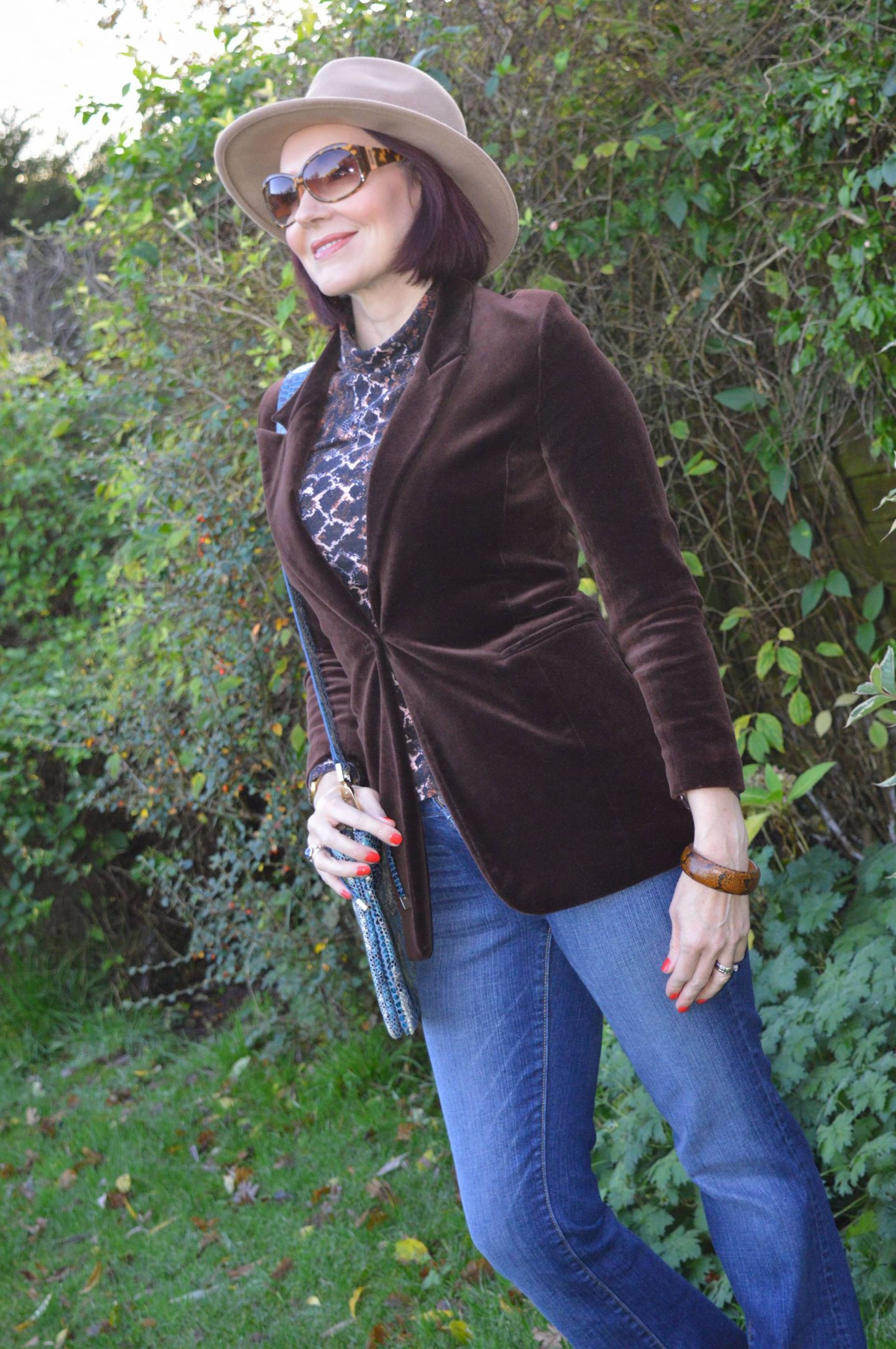 Velvet and Snake Print, brown velvet blazer, Red Herring snake print top, Zara camel fedora