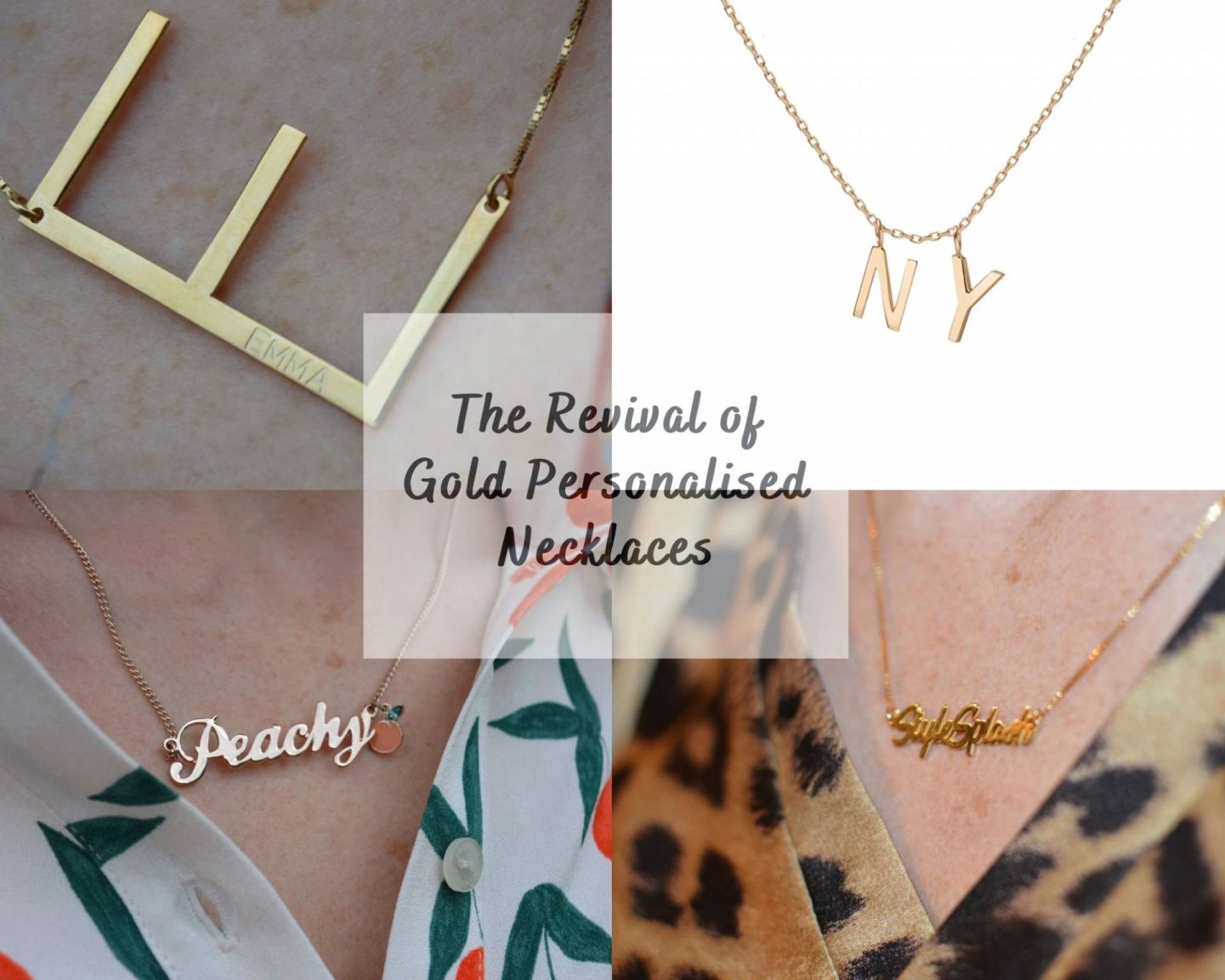 gold personalised necklaces collage