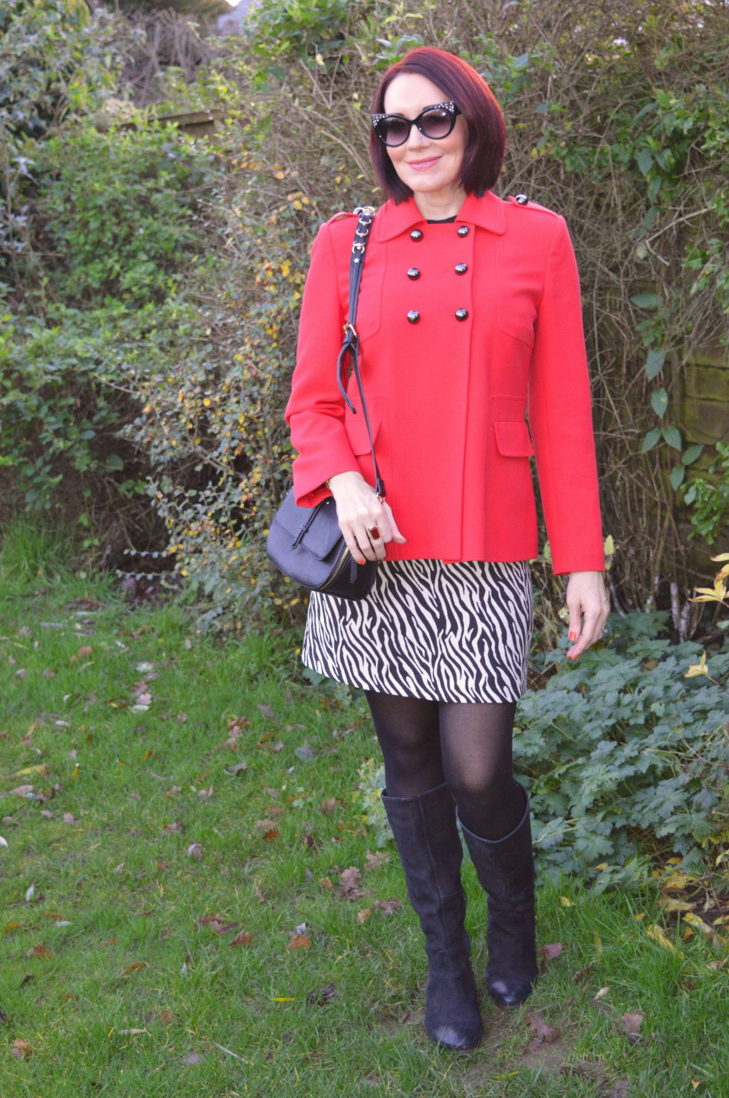 Red-y For the Holiday Season, vintage red military style jacket, Marks & Spencer zebra print mini skirt