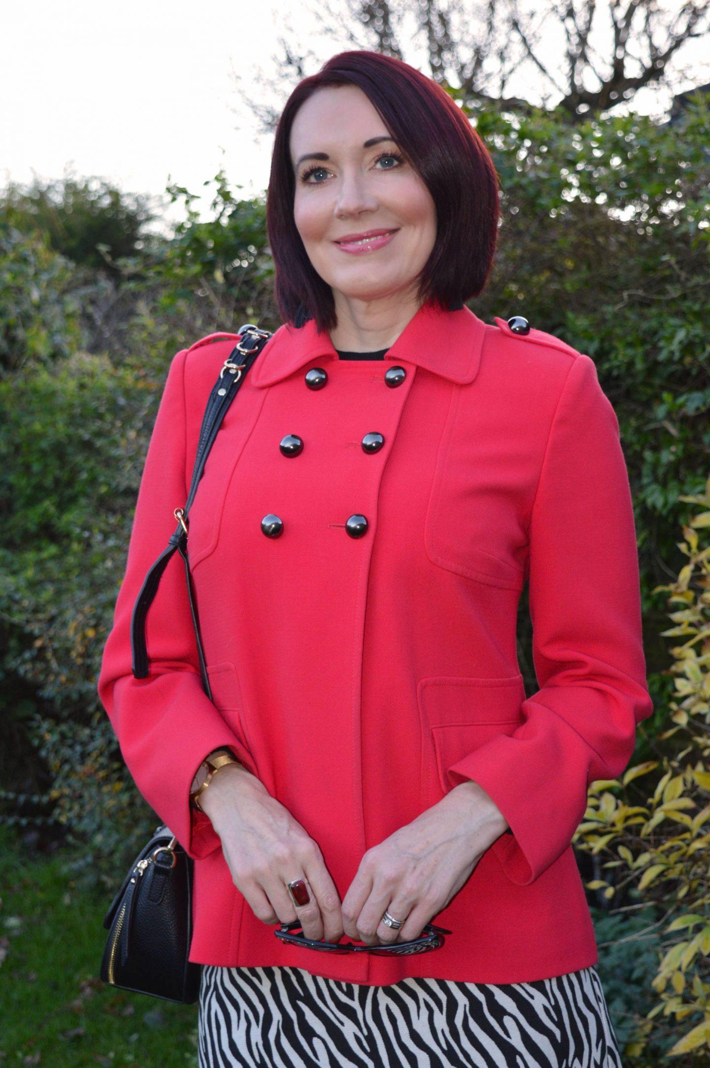 vintage red military style jacket, Marks & Spencer zebra print mini skirt