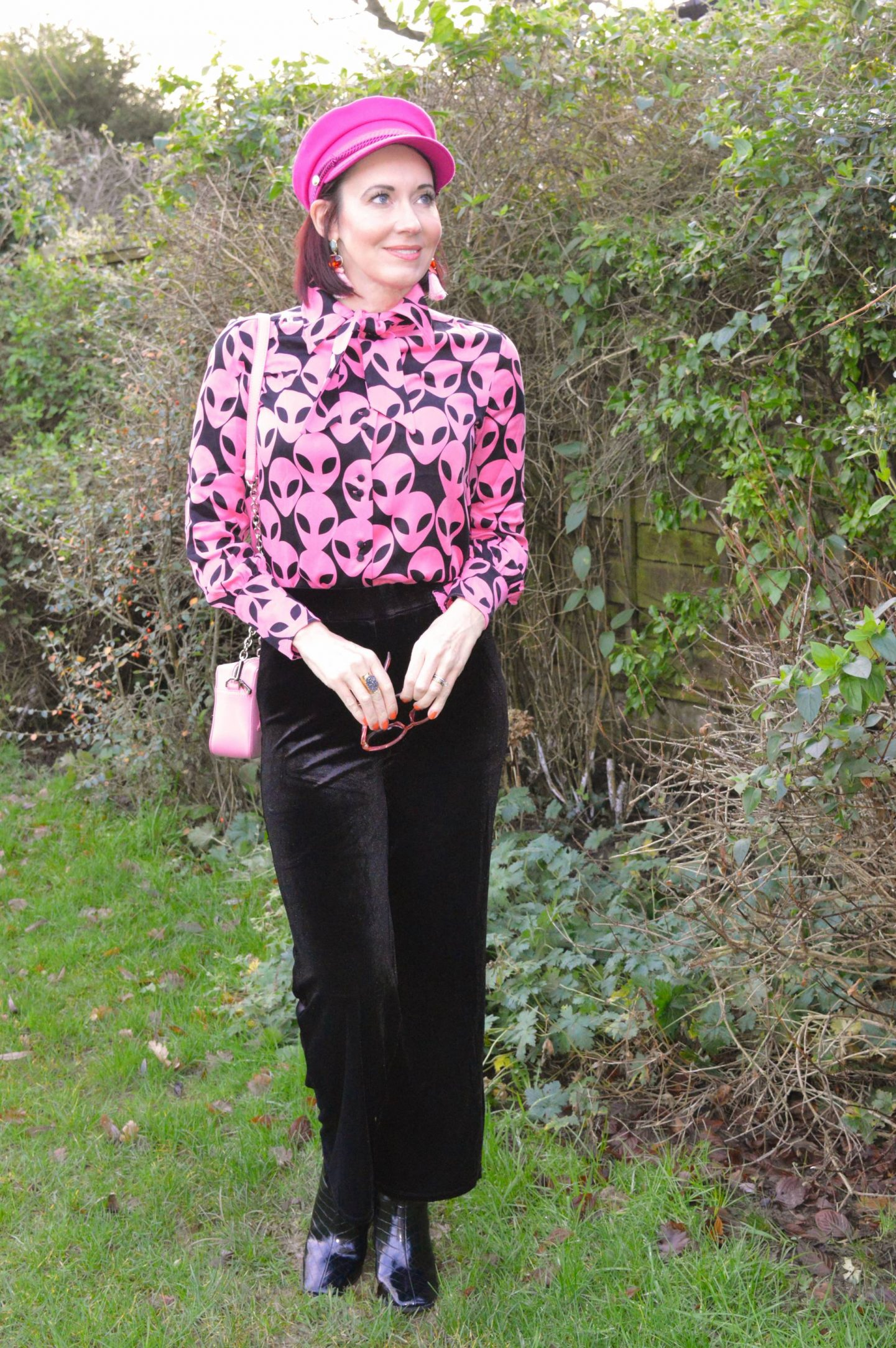 Fabienne Chapot Alien Print Shirt, Very black velvet trousers, Fabienne Chapot pink cap