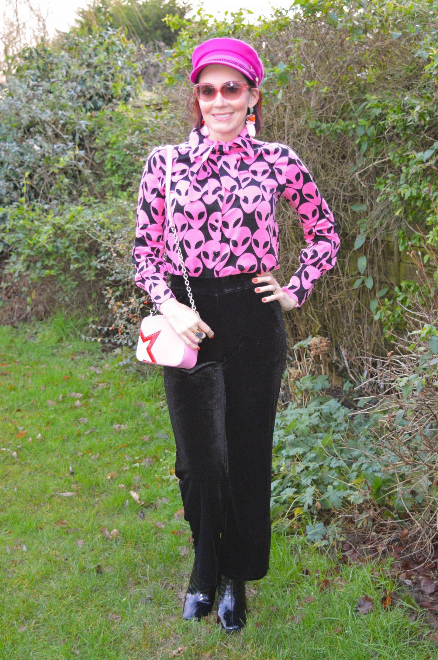 Fabienne Chapot Paris Alien Print Shirt, Very black velvet trousers, Fabienne Chapot pink cap