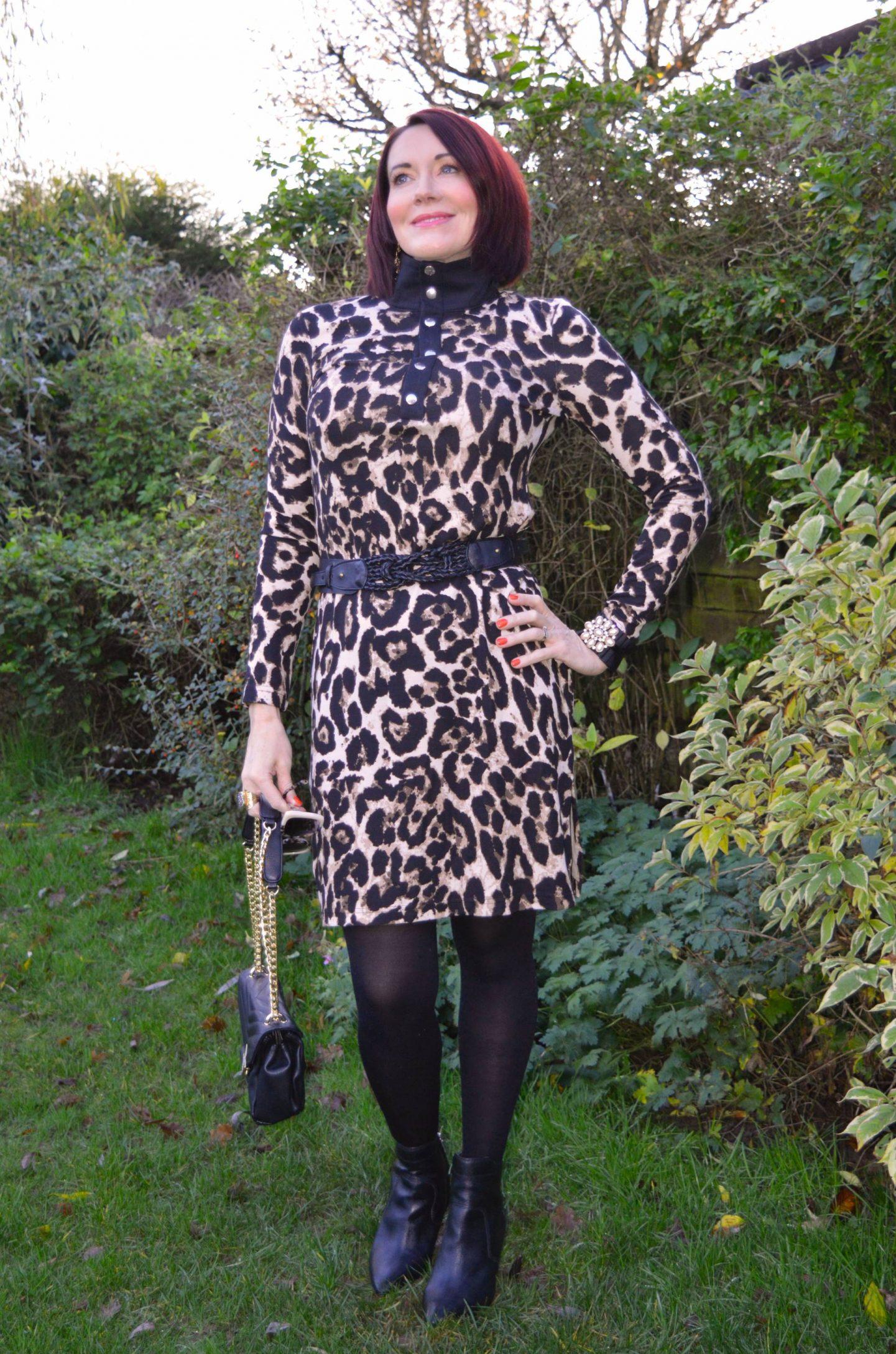 Baum und Pferdgarten Leopard Print Jersey Dress, Jennifer Hamley vegan leather bag