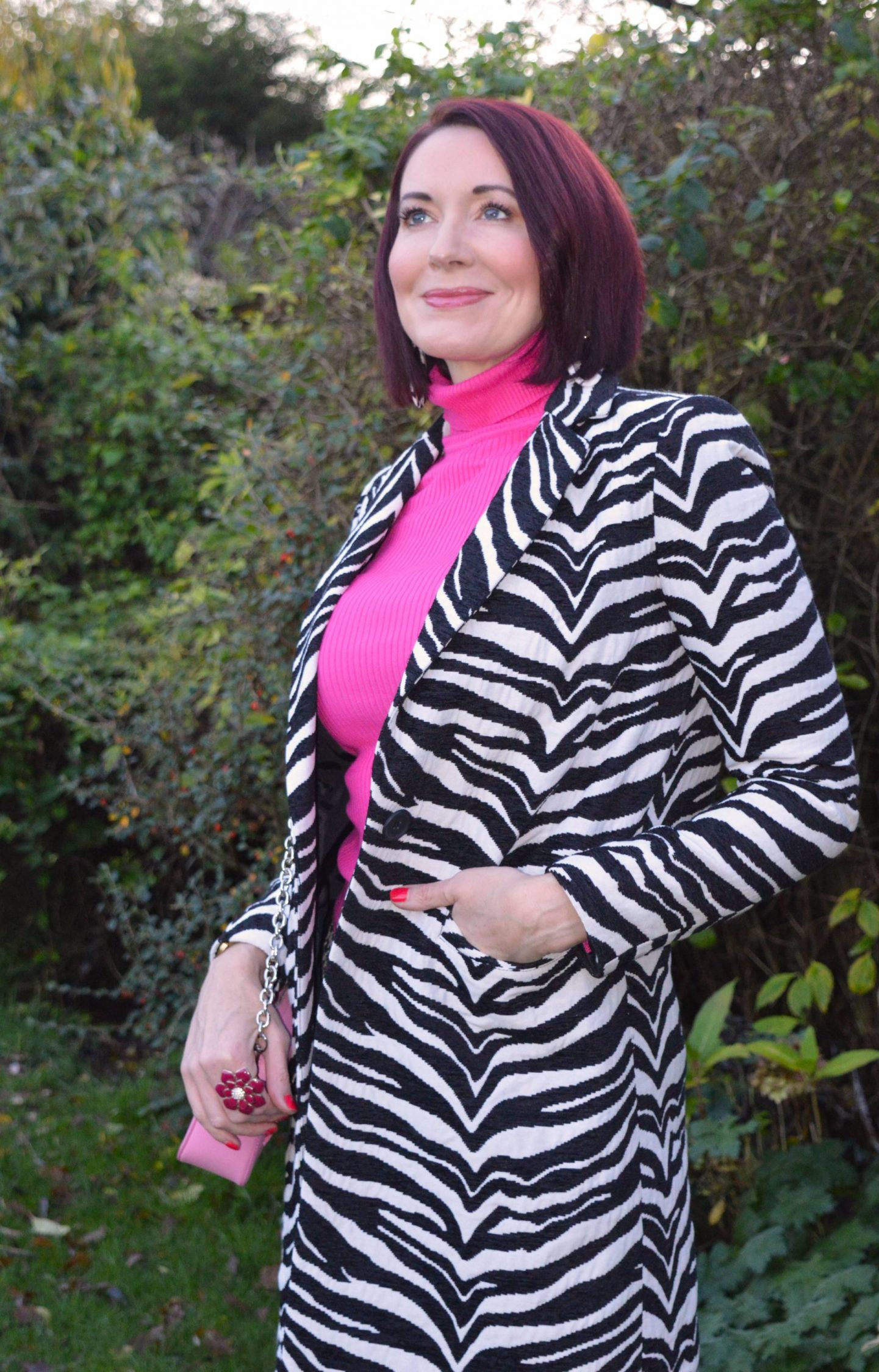 Zebra Print and Houndstooth With Bright Pink, Dept.19 zebra print coat, Zara houndstooth trousers, New Look neon pink ribbed roll neck jumper