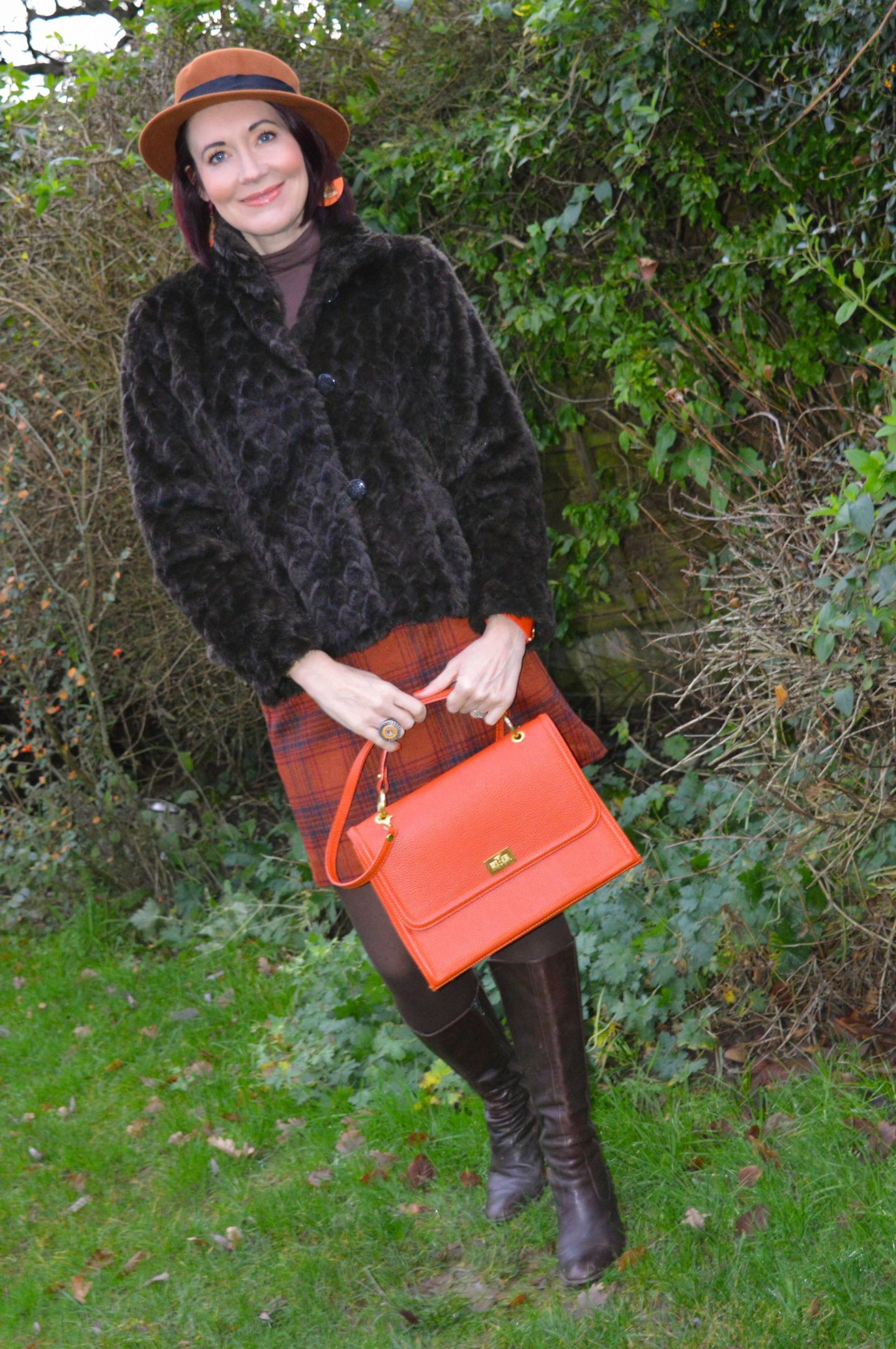 Getting Out and About - December's Style Not Age, Marks & Spencer brown faux fur jacket, Marks & Spencer brown mini skirt