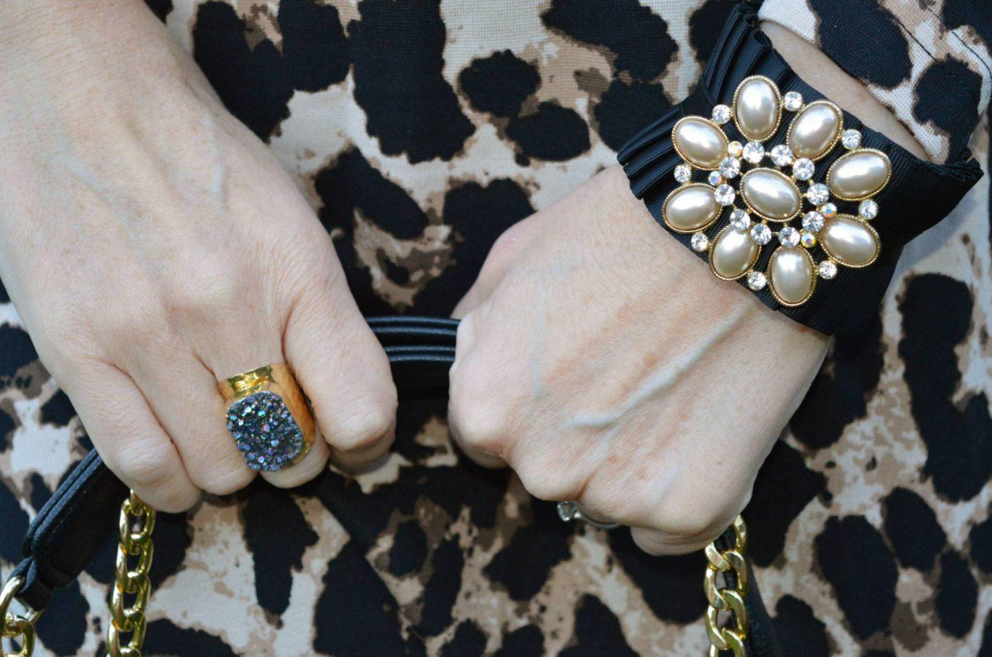 Yaa Yaa London black druzy ring, black ribbon and pearl cuff bracelet