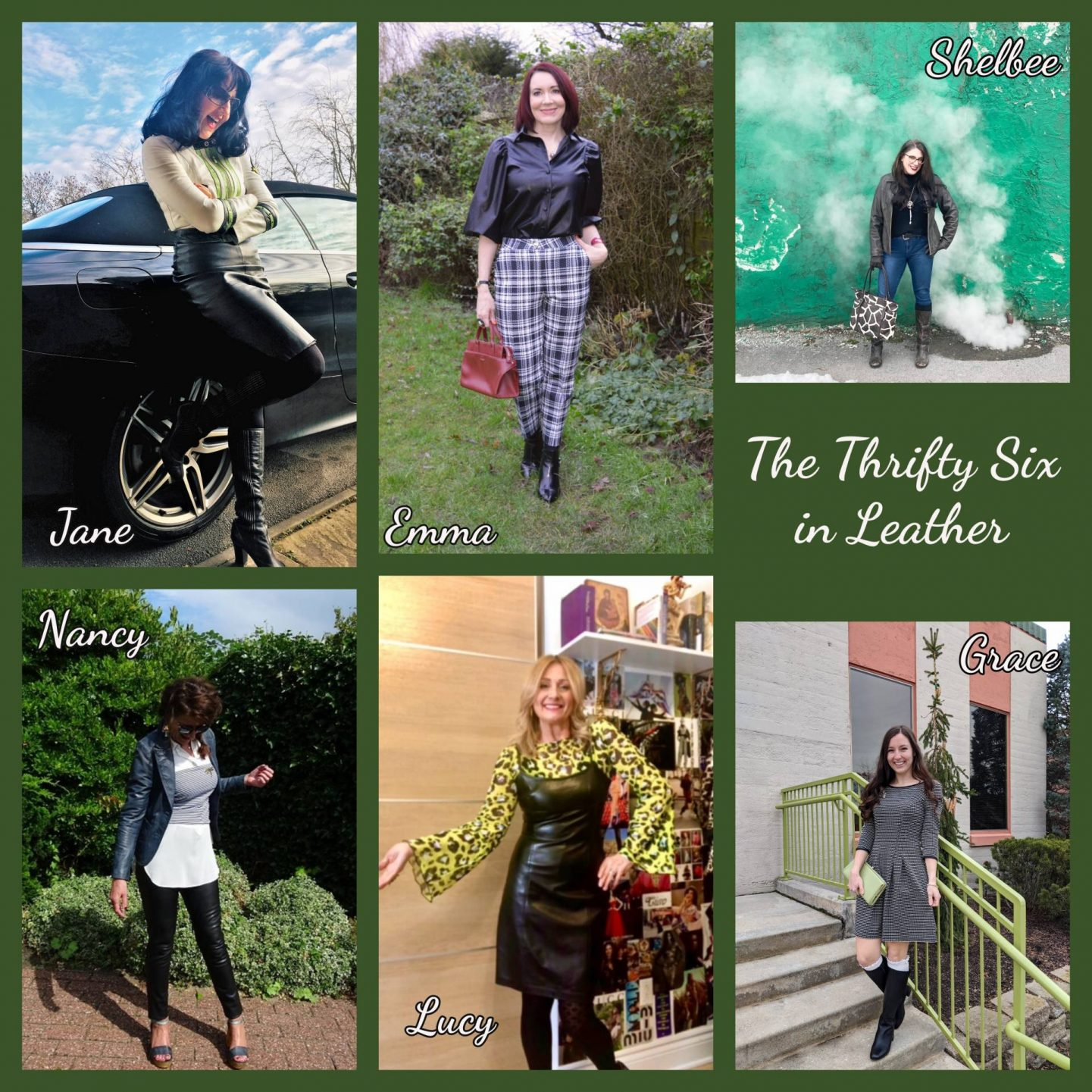 Styling Leather and Pleather - January's Thrifty Six Collaboration collage
