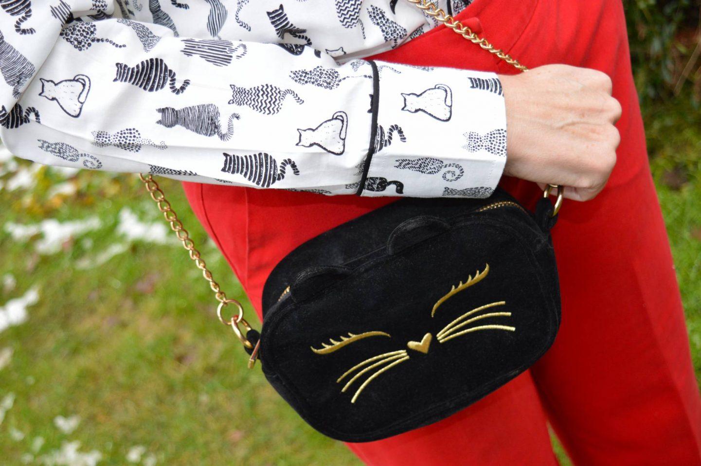 Salamander Shirts cat print shirt, Asos black velvet cat bag
