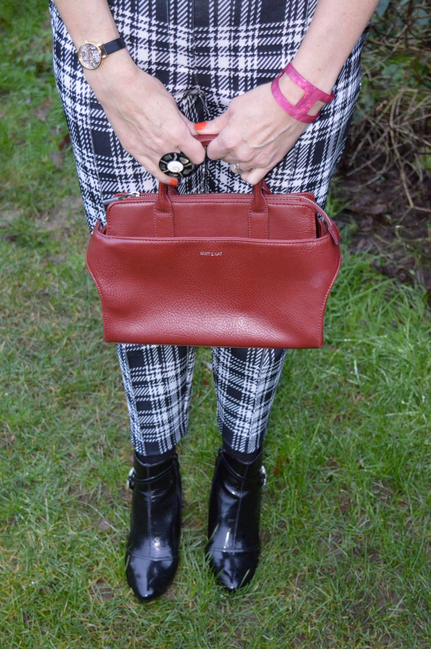 Styling Leather and Pleather - January's Thrifty Six Collaboration, Matt and Nat maroon bag, River Island black and white check trousers, Lotus black ankle boots
