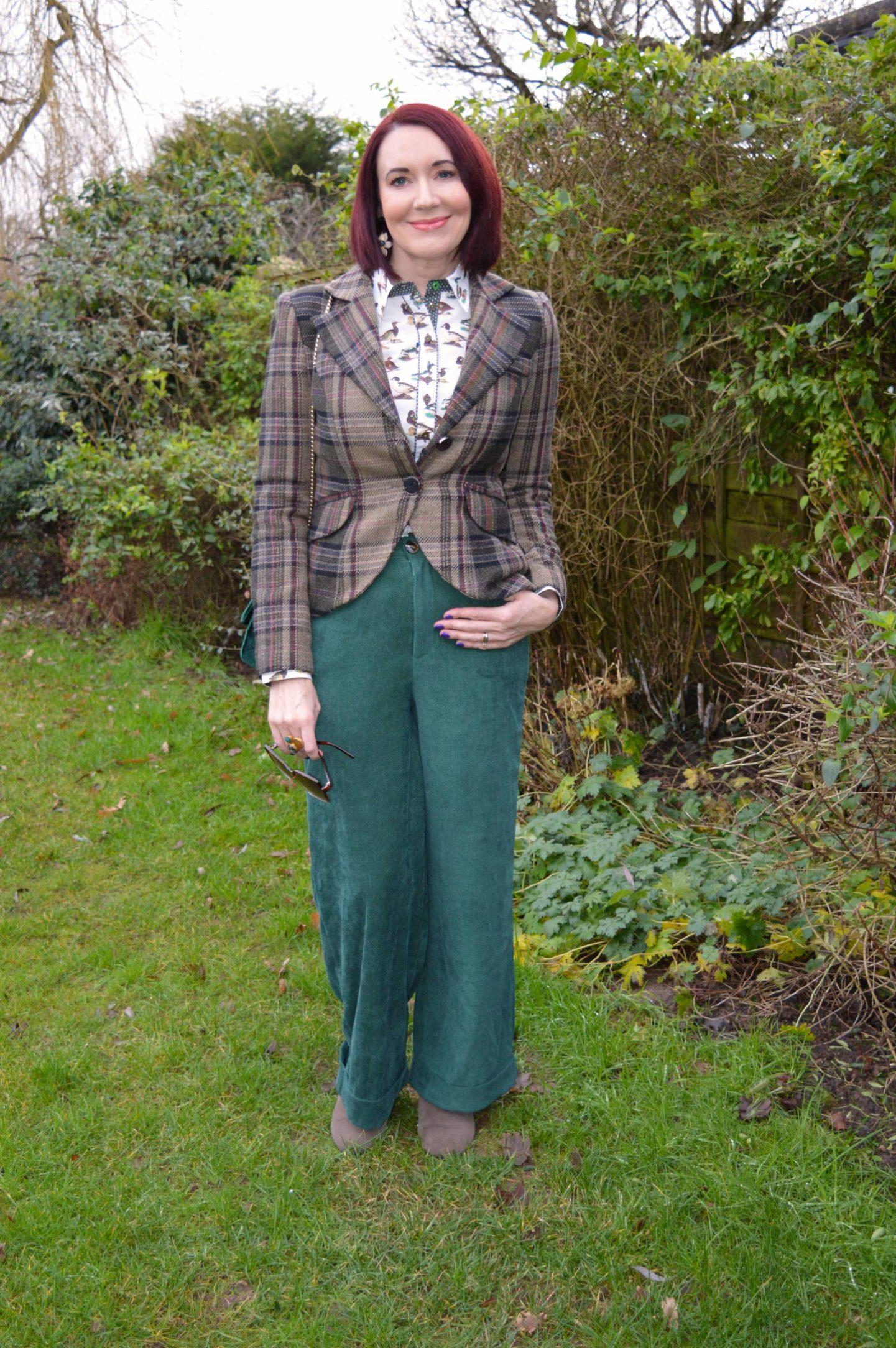 Salamander Shirts Duck Print Cotton Shirt, Coast baby cord forest green trousers, Mango tweed jacket